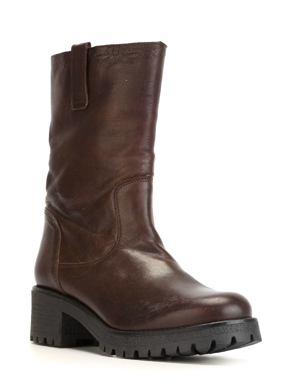 p a r o s h mid calf length boots in brown lyst