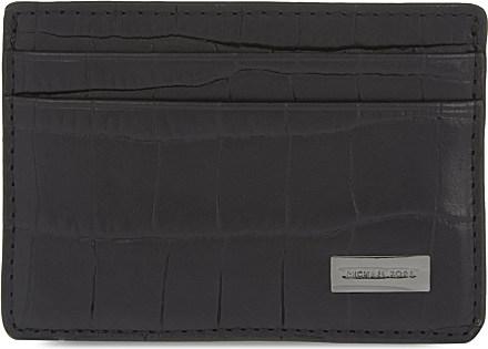 578a38008f177 Michael Kors Bryant Croc Embossed Card Holder in Black for Men - Lyst