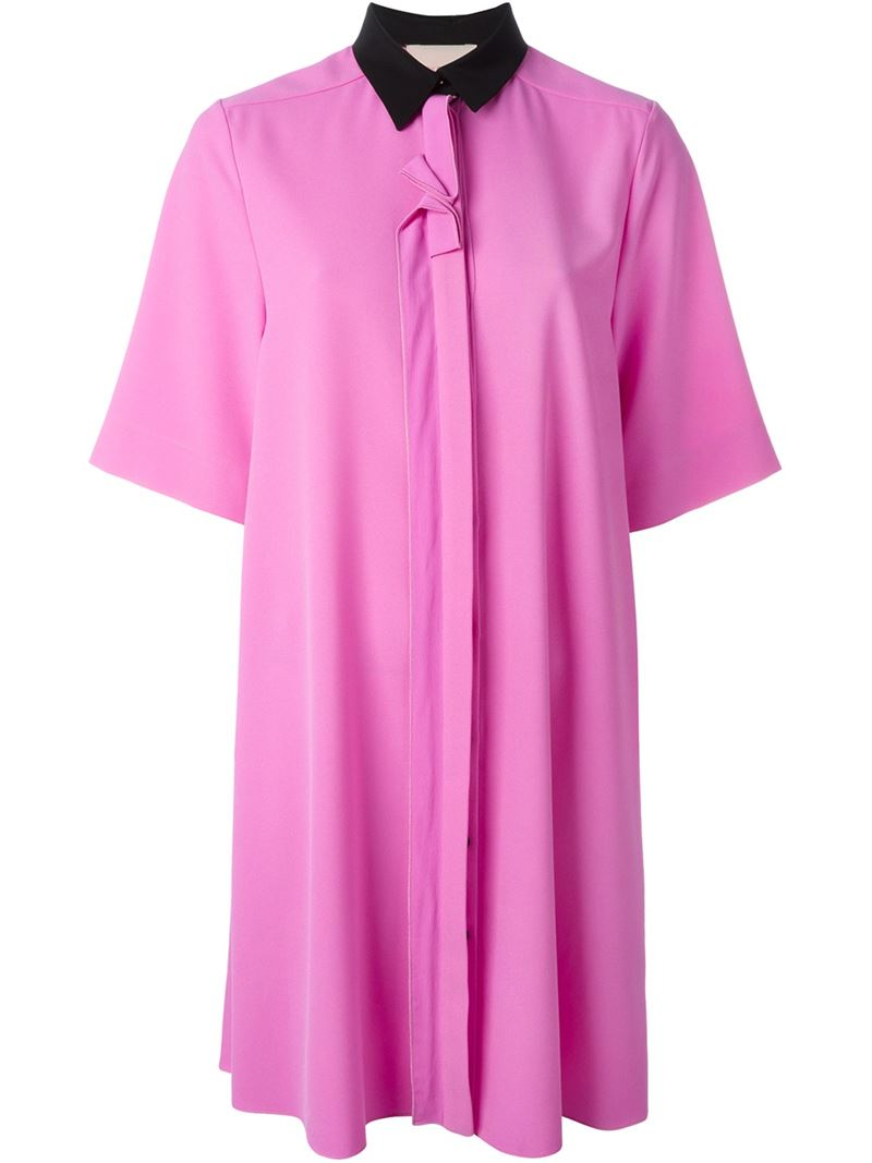 Lyst Roksanda Contrasting Collar Shirt Dress In Pink