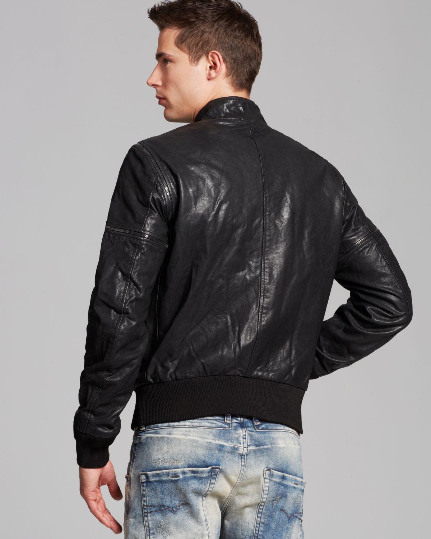Lyst Diesel Ghita Leather Bomber Jacket In Black For Men