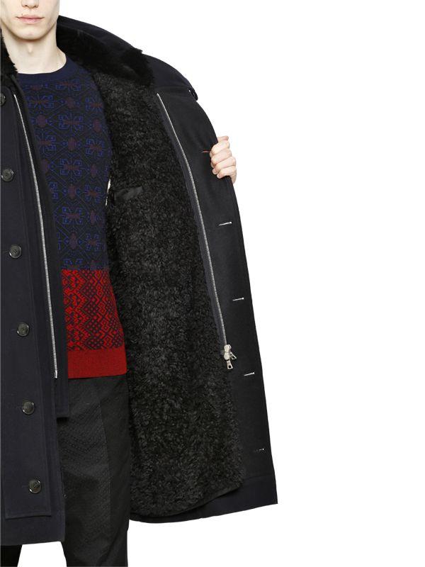 Dries Van Noten Hooded Duffle Wool Parka in Navy (Blue) for Men