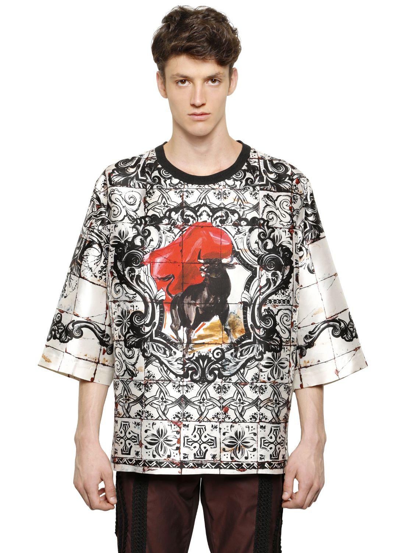 Dolce gabbana oversize bull printed silk t shirt in for Silk white t shirt