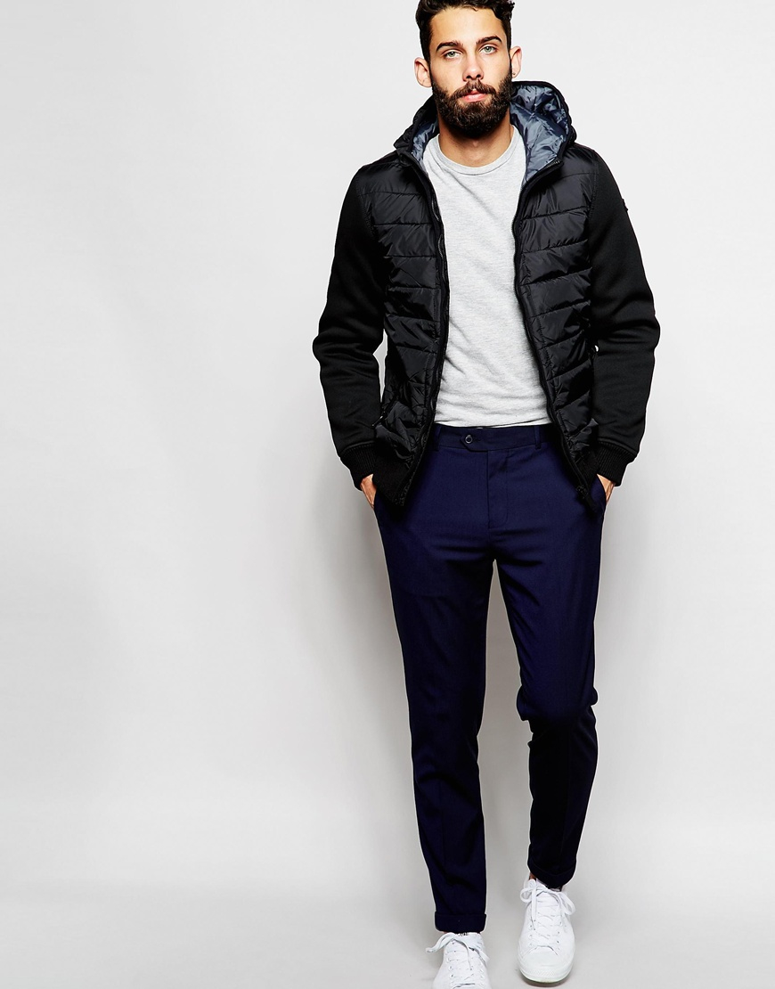 Schott Nyc Insulated Jacket With Neoprene Sleeves in Black for Men