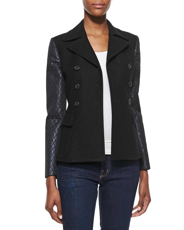 michael kors quilted sleeve jacket in black lyst. Black Bedroom Furniture Sets. Home Design Ideas