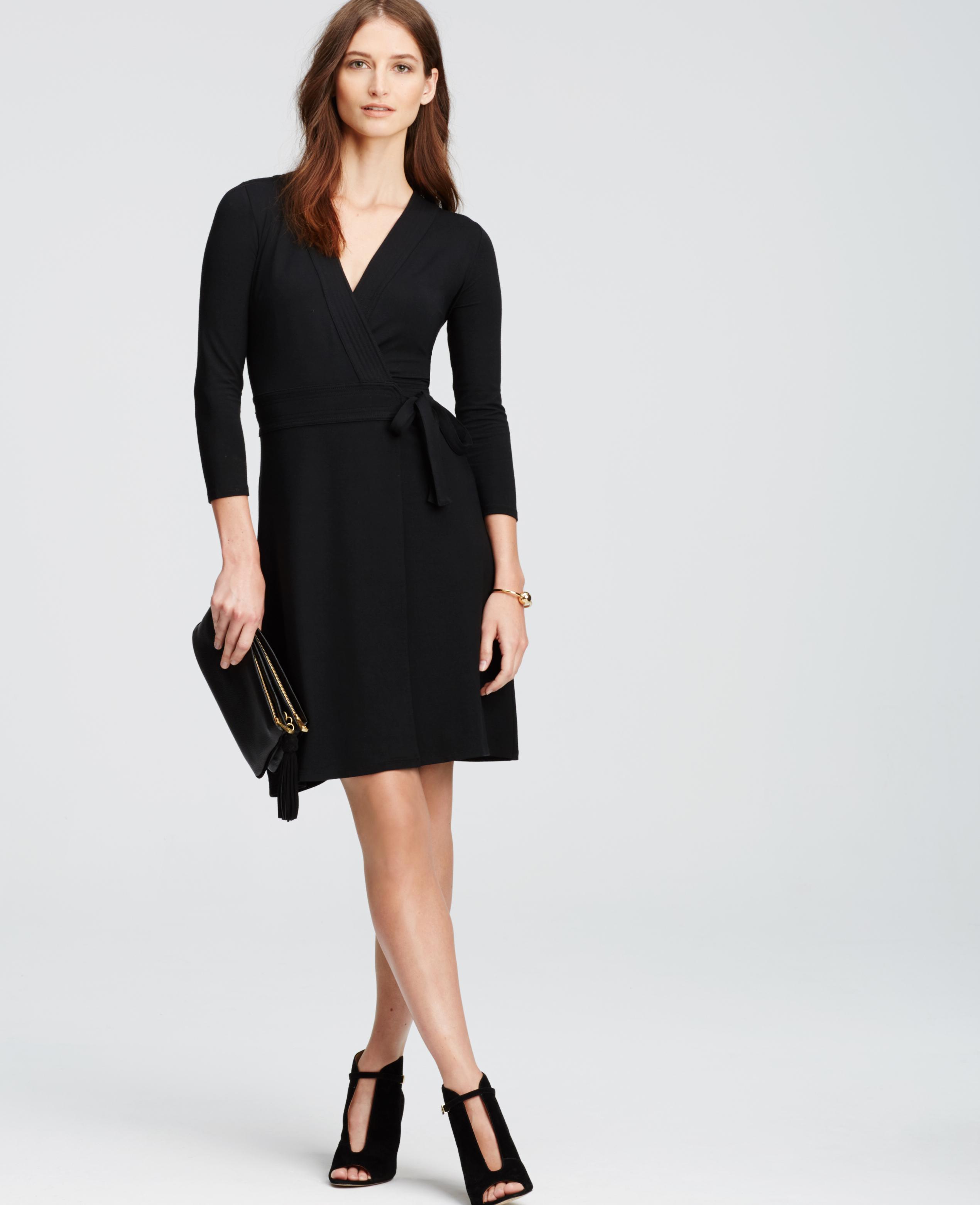 f41bf9af4f Ann Taylor Petite 3 4 Sleeve Wrap Dress in Black - Lyst