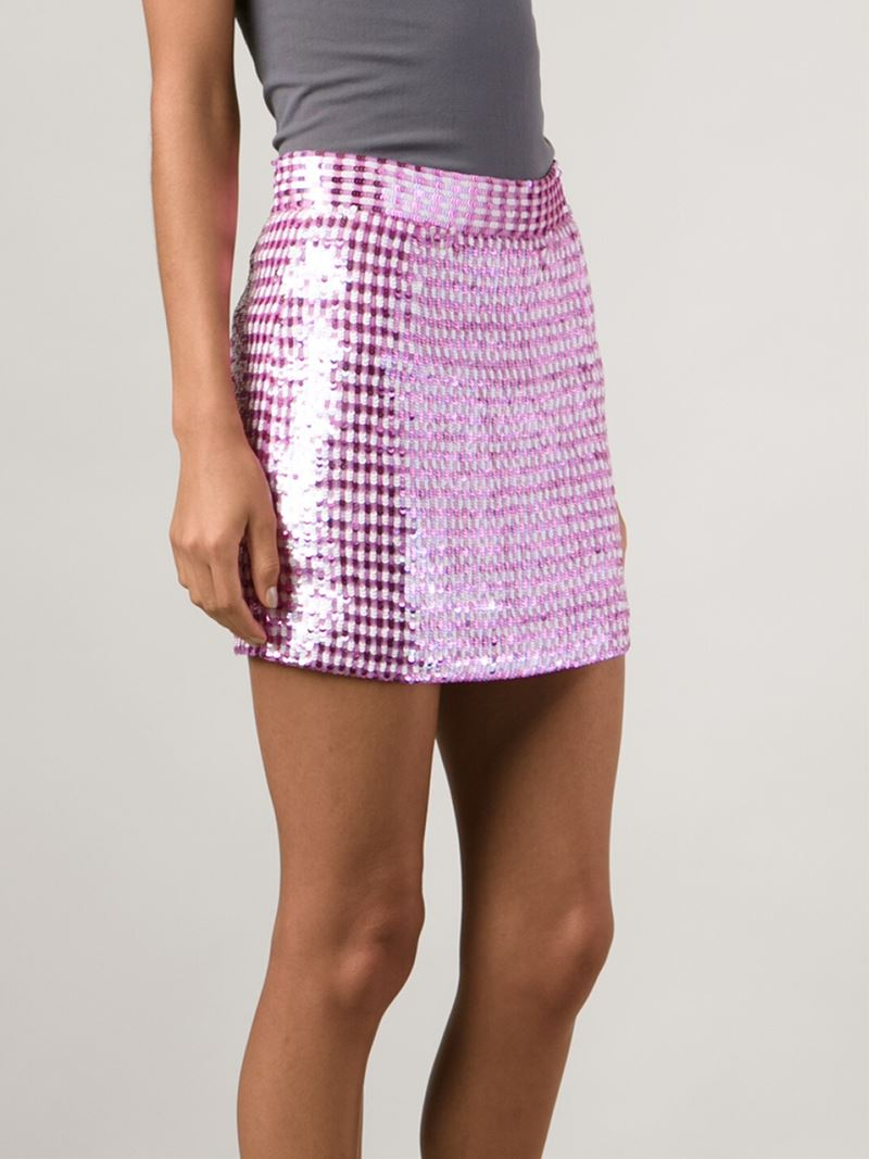 Ashish Gingham Silk Mini Skirt in Pink | Lyst