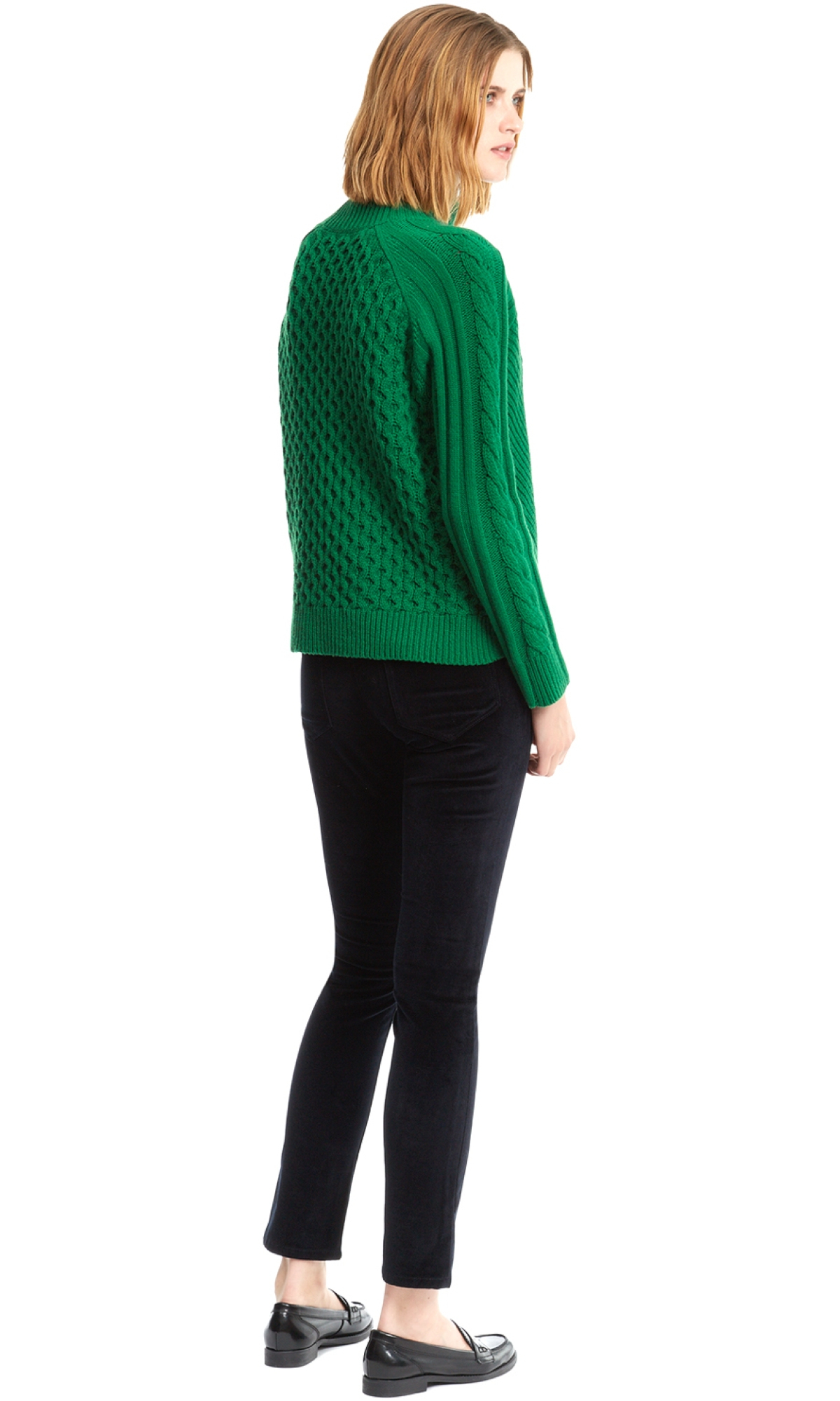 Nicole farhi Heavy Cable Knit Jumper in Green | Lyst