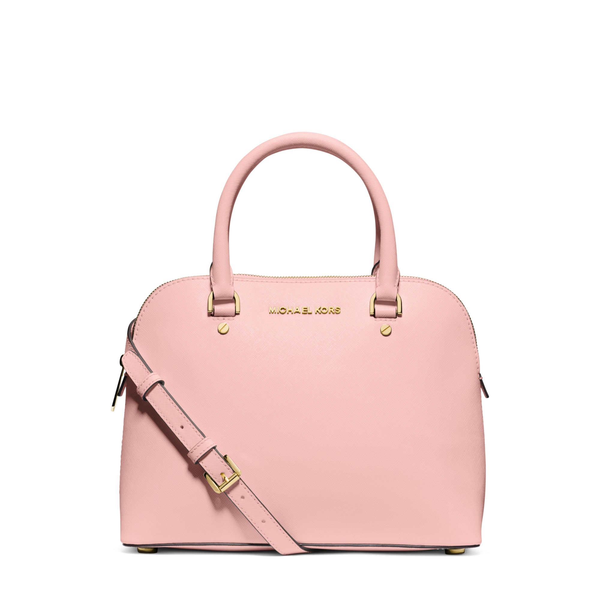 73aeb7e1dac0 Lyst - Michael Kors Cindy Medium Saffiano Leather Satchel in Pink