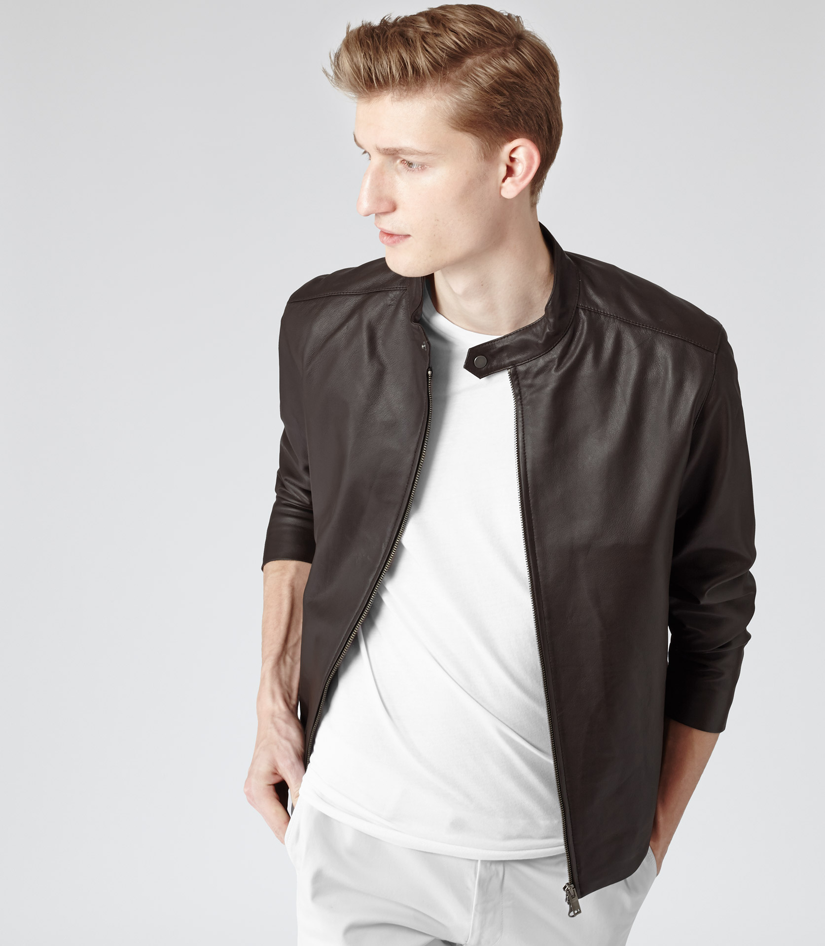 Reiss Tyler Lightweight Leather Jacket in Brown for Men | Lyst