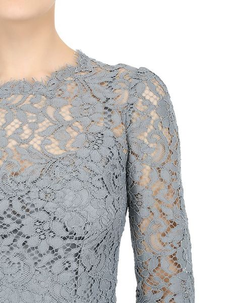 Dolce Amp Gabbana Cordonetto Cotton Lace Dress In Gray Grey