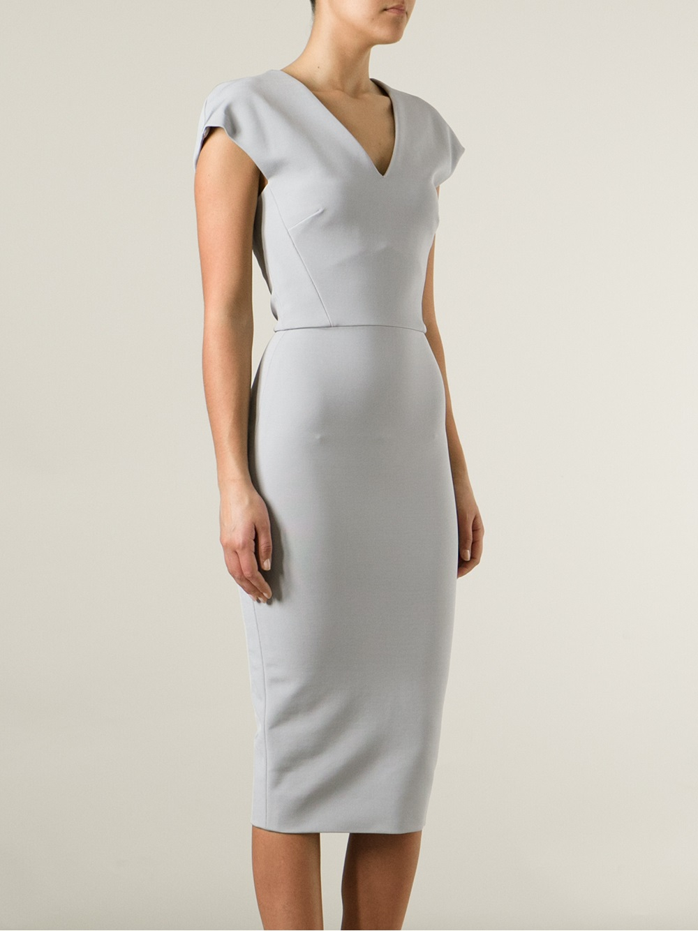 Victoria Beckham Fitted Pencil Dress In Gray Grey Lyst