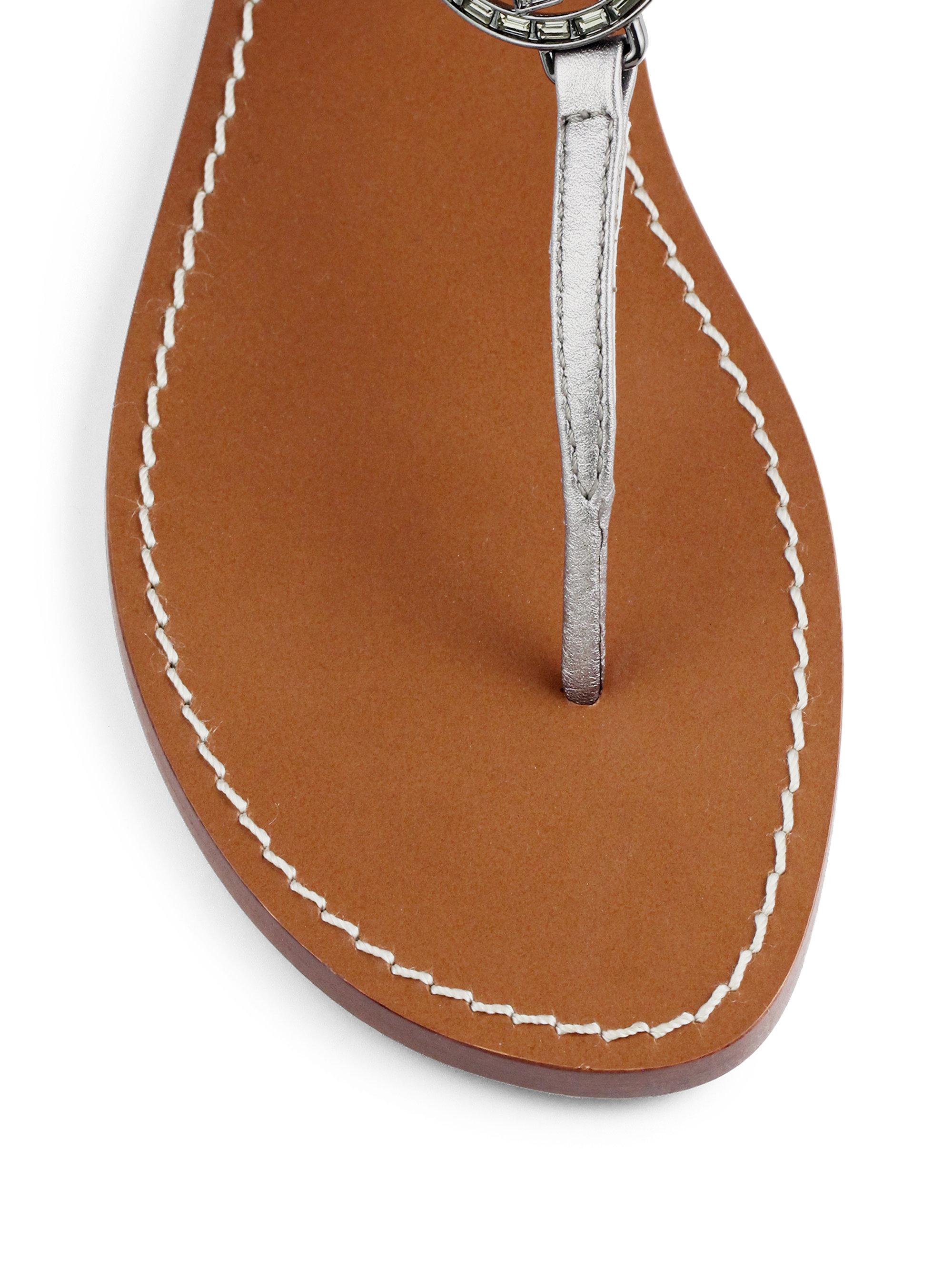 7f4b4e657ac Lyst - Tory Burch Violet Metallic Leather Thong Sandals in Metallic