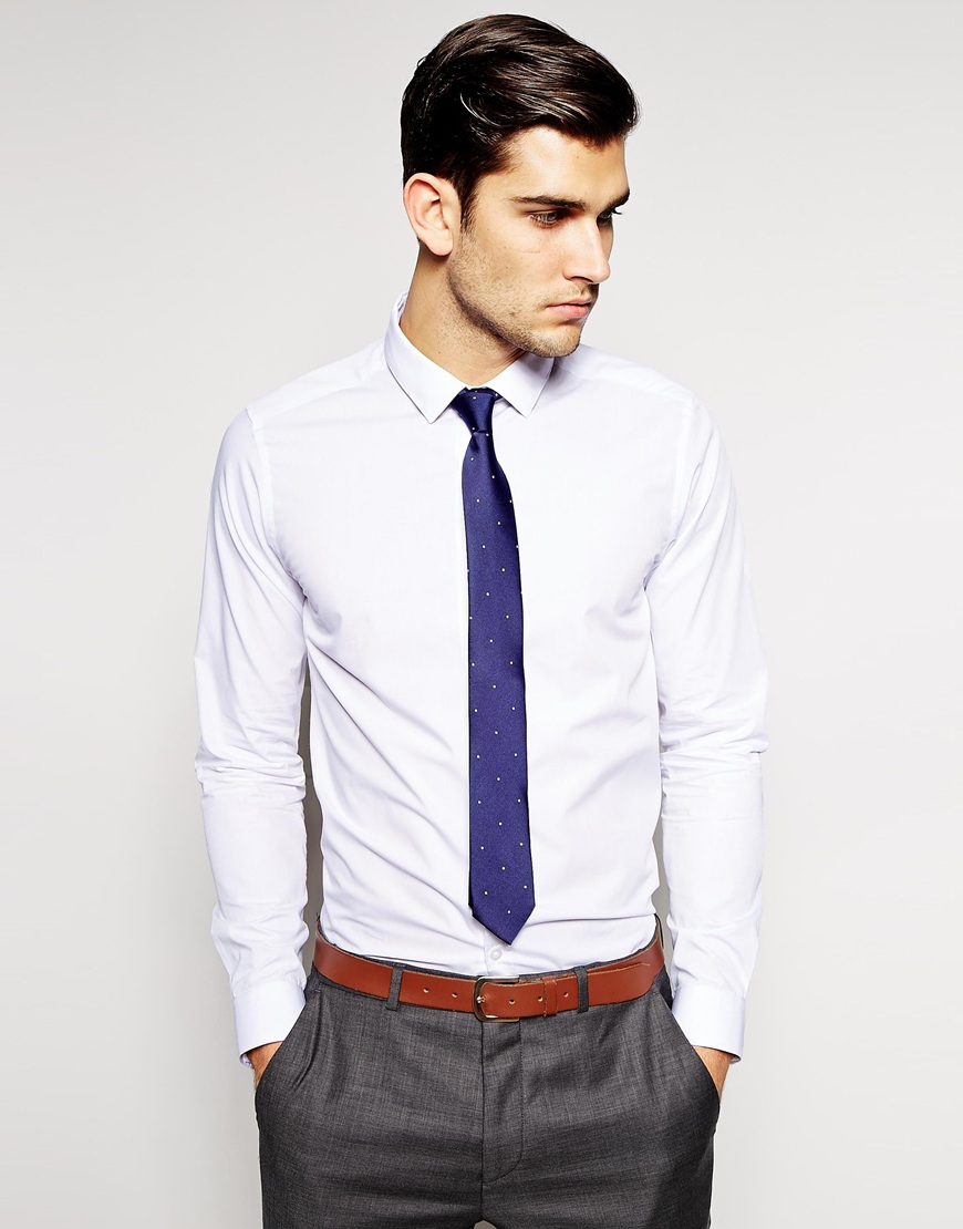 Lyst asos smart shirt and polka dot tie set save 20 in for Shirt and tie for men