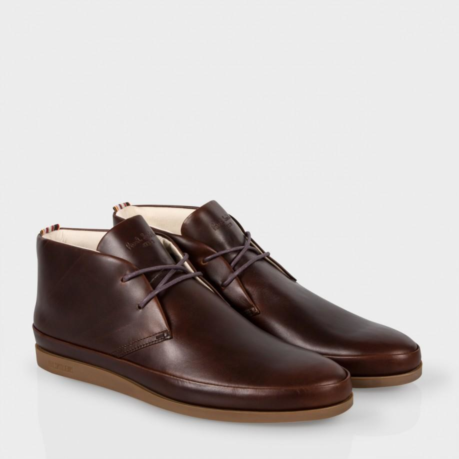 af7df4cb8c3 Paul Smith Men's Brown Leather 'loomis' Chukka Boots With Tan Soles for men