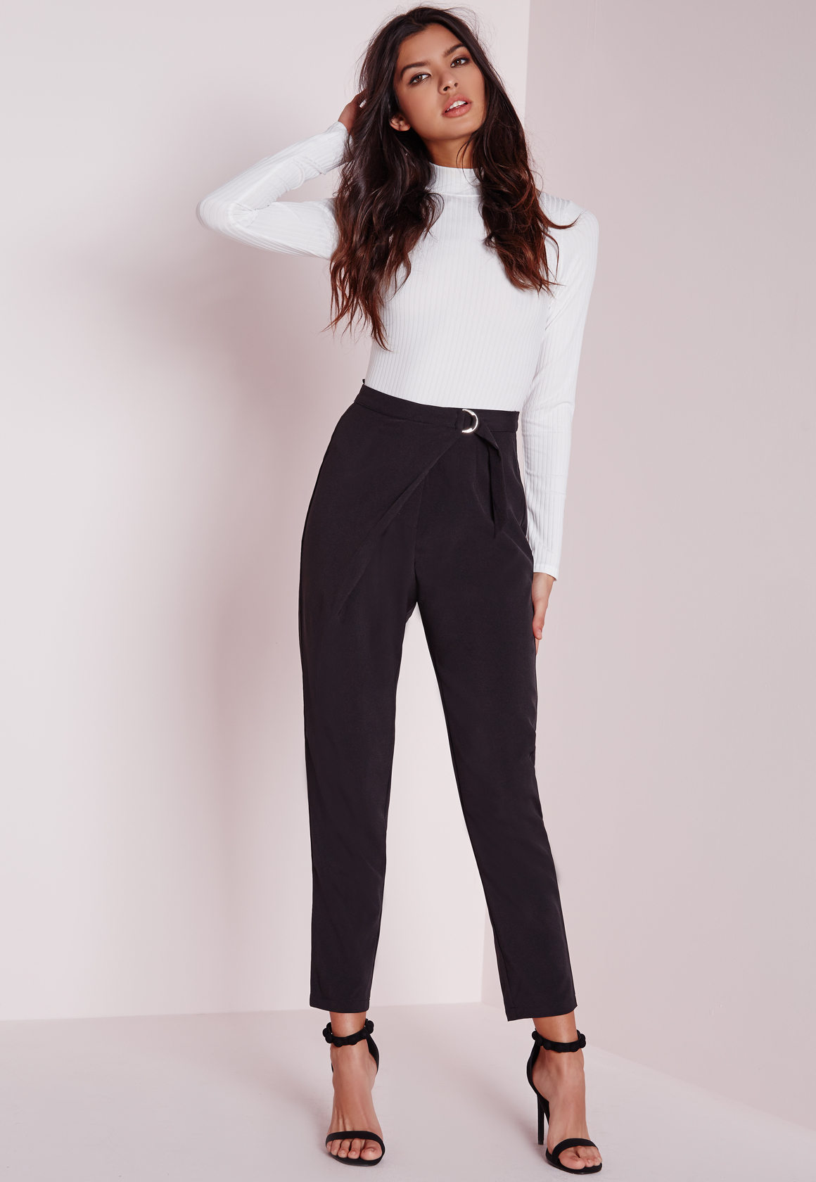 Missguided Wrap Detail Tailored Trousers Black in Black
