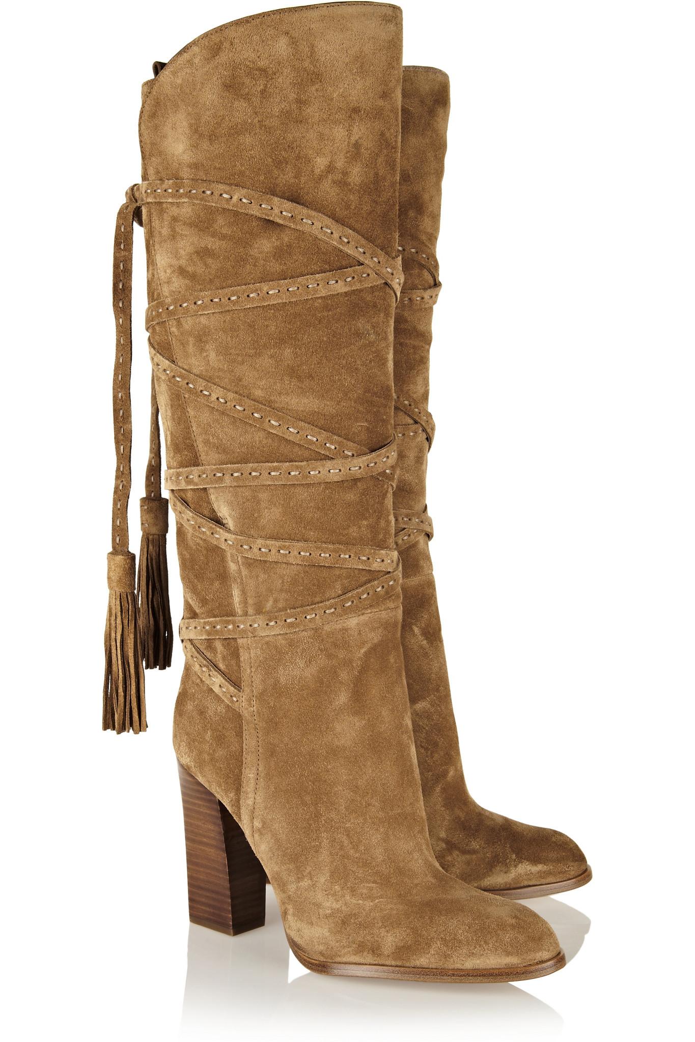 michael kors jessa suede knee boots in beige sand lyst