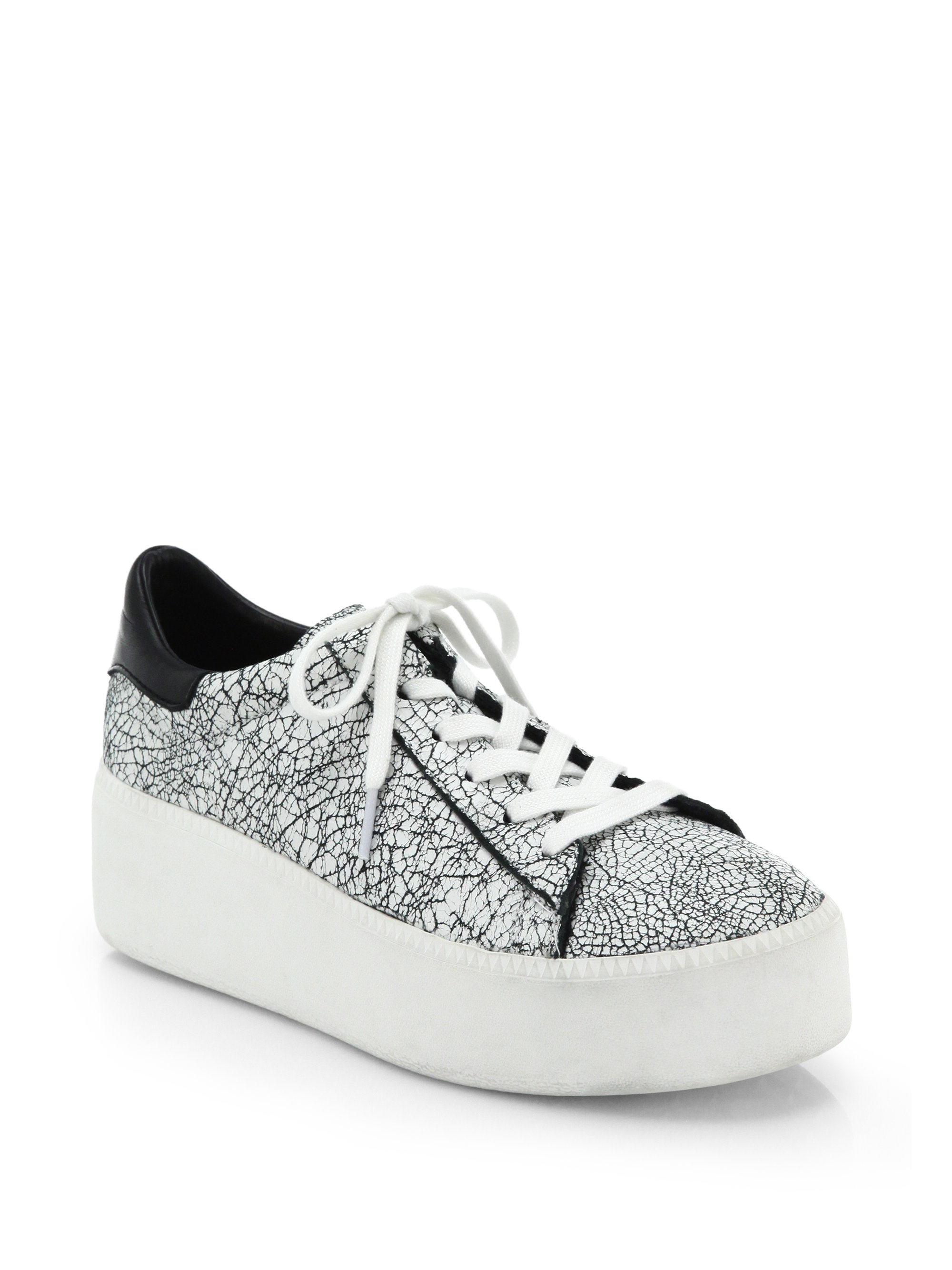 e14b3e915b8b Ash Cult Crackled Leather Platform Sneakers in White