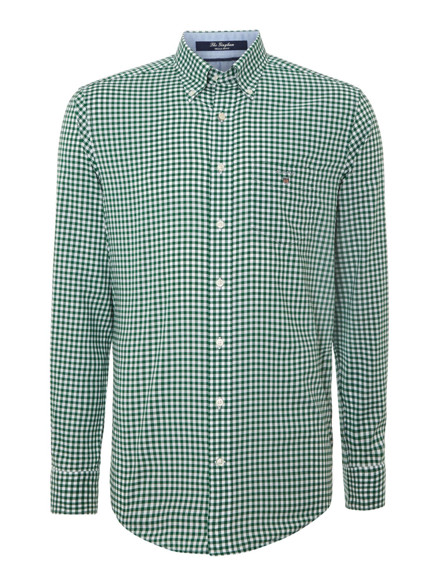 Gant Long Sleeved Gingham Shirt In Green For Men Lyst