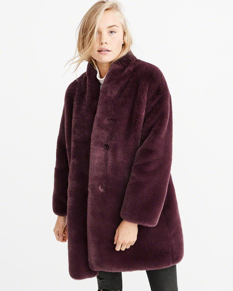 9ff2d5db7eb98 Lyst - Abercrombie & Fitch A&f Luxe Faux Fur Coat in Purple