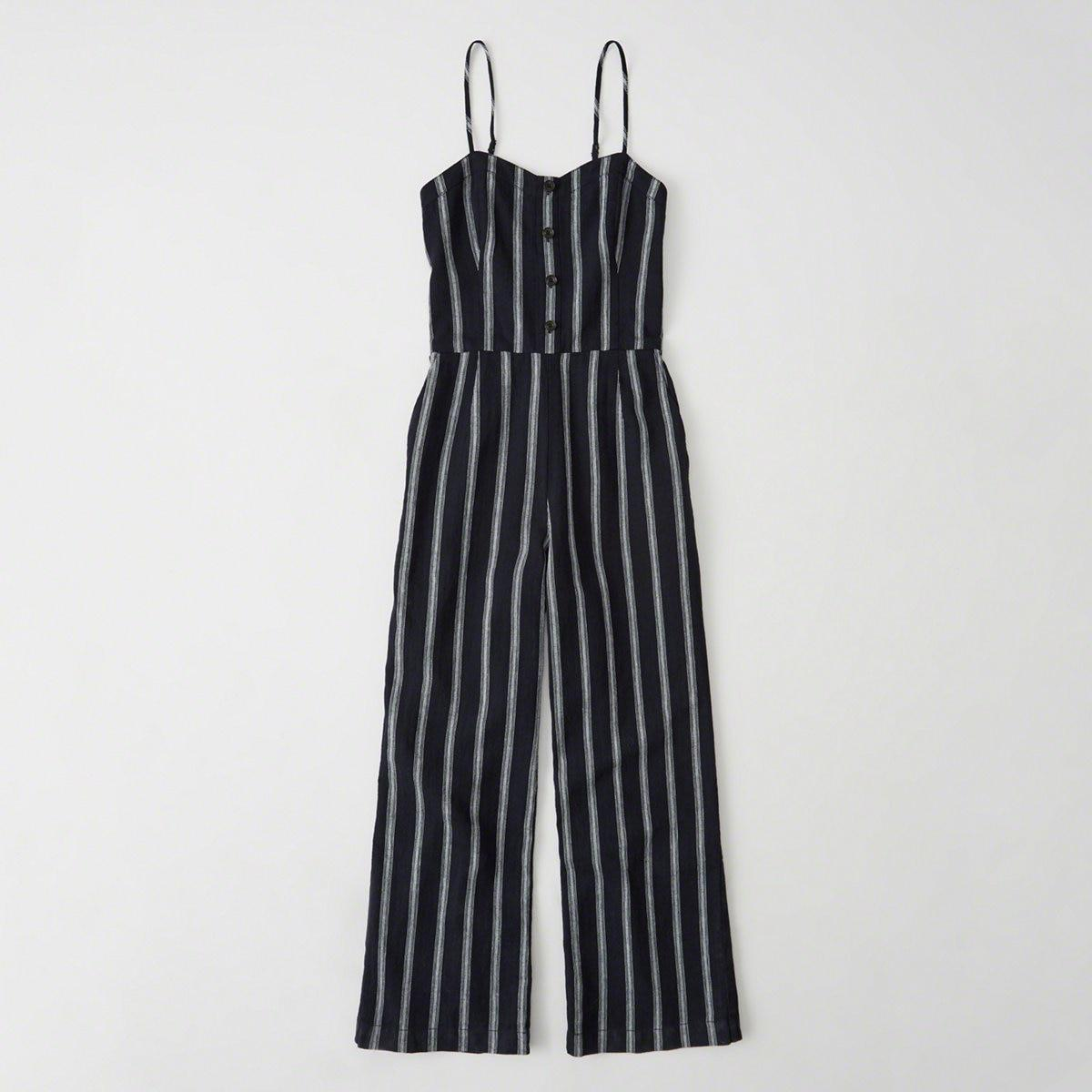 7989faabecc Lyst - Abercrombie   Fitch Button Cropped Jumpsuit in Blue
