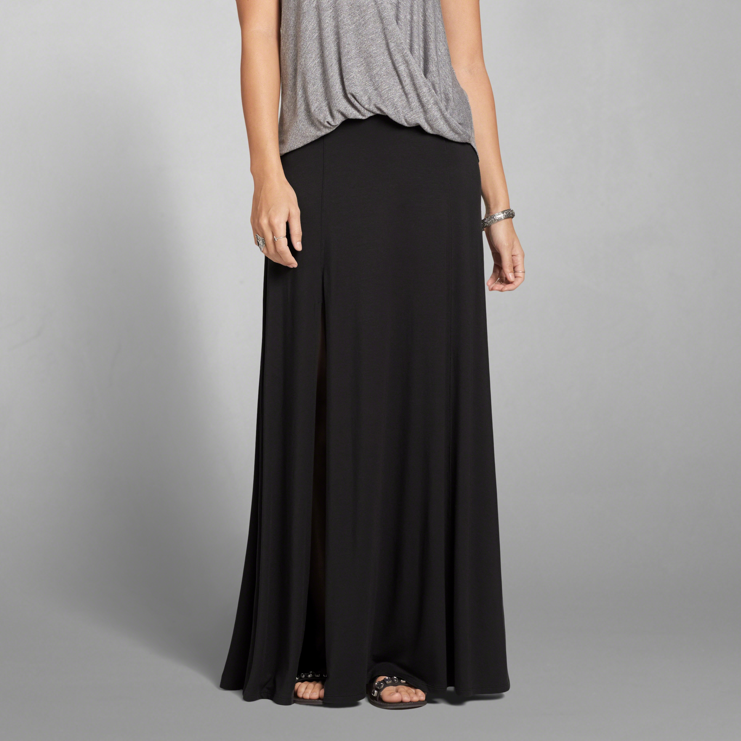 abercrombie fitch knit maxi skirt in black lyst