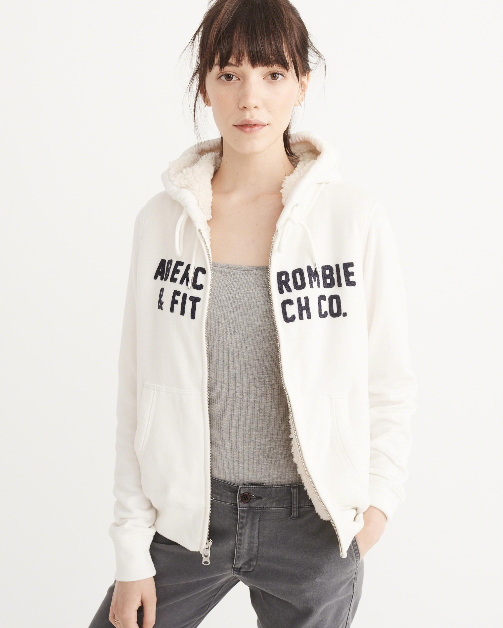 Abercrombie & Fitch Heritage Logo Sherpa Hoodie In