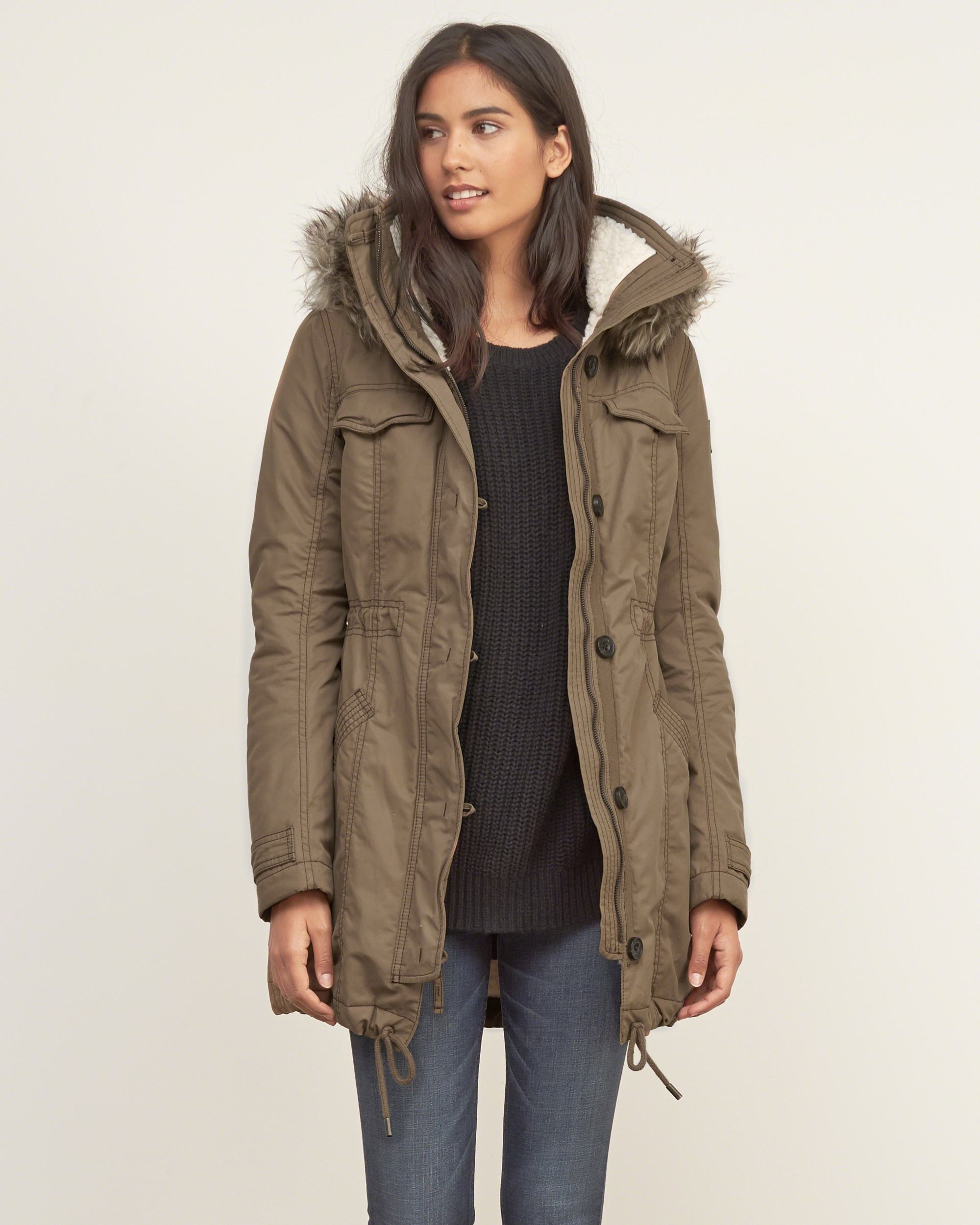 Abercrombie & fitch A&f Sherpa Lined Military Parka in Blue | Lyst