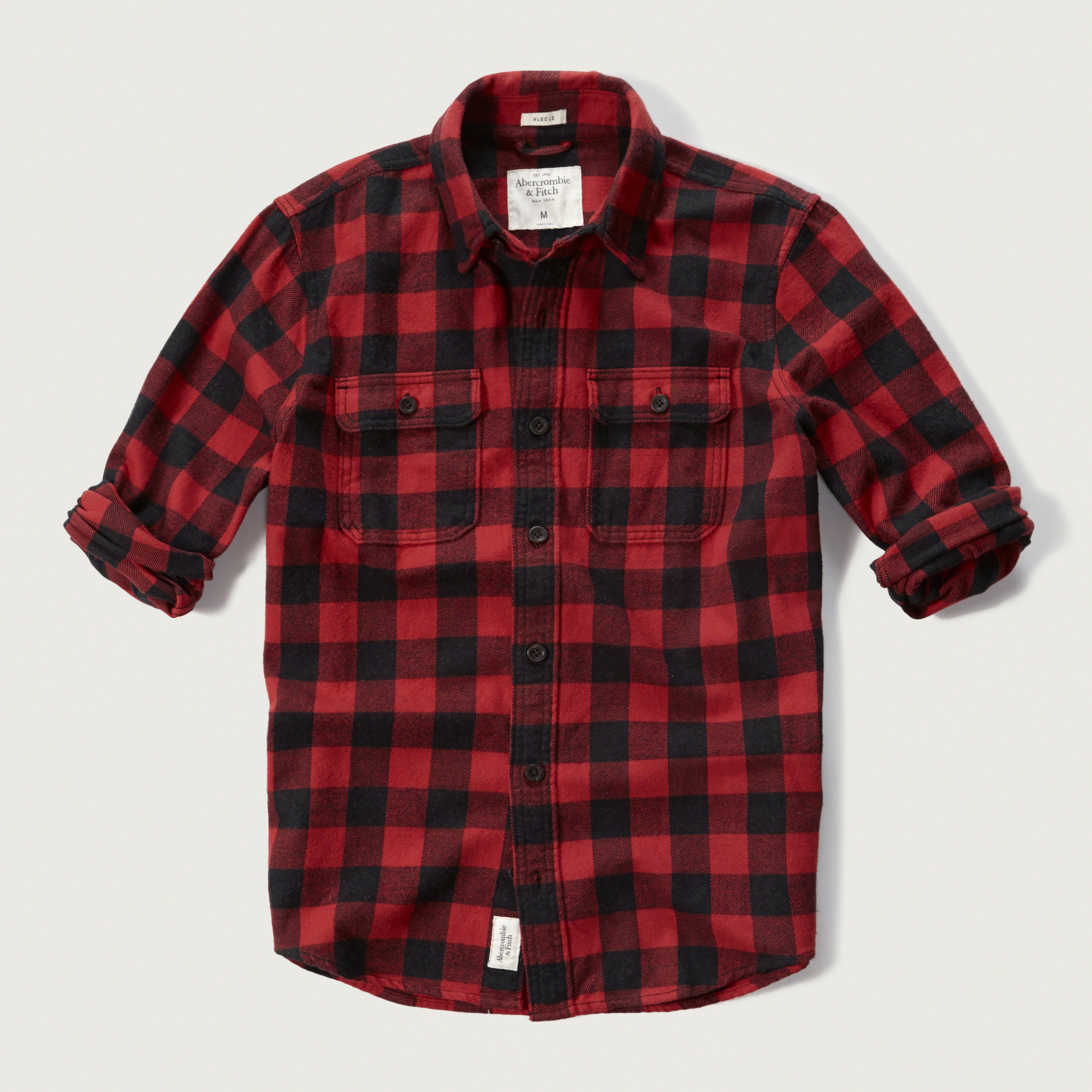 lyst abercrombie amp fitch plaid flannel shirt in black