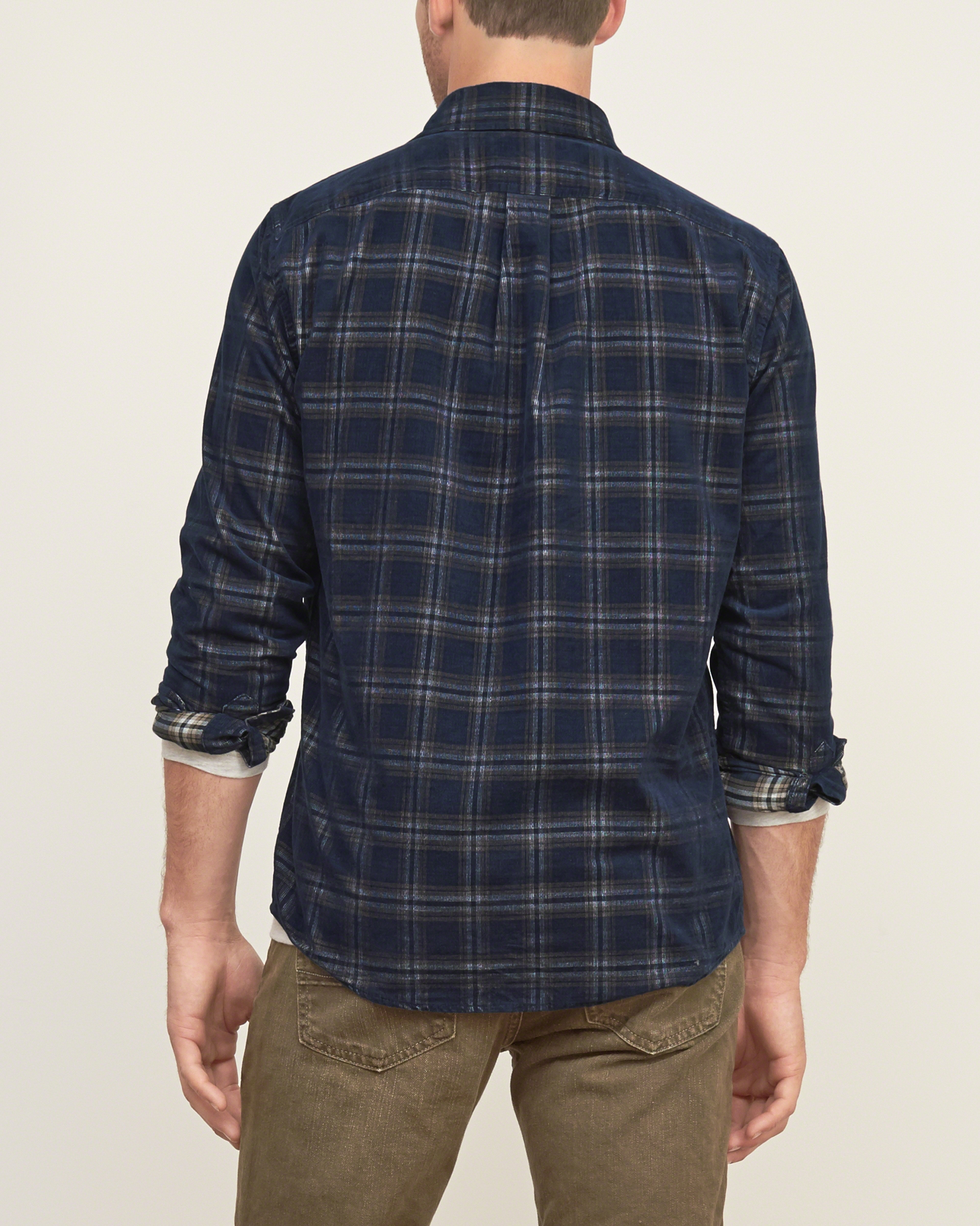 lyst abercrombie amp fitch plaid cotton shirt in blue for men