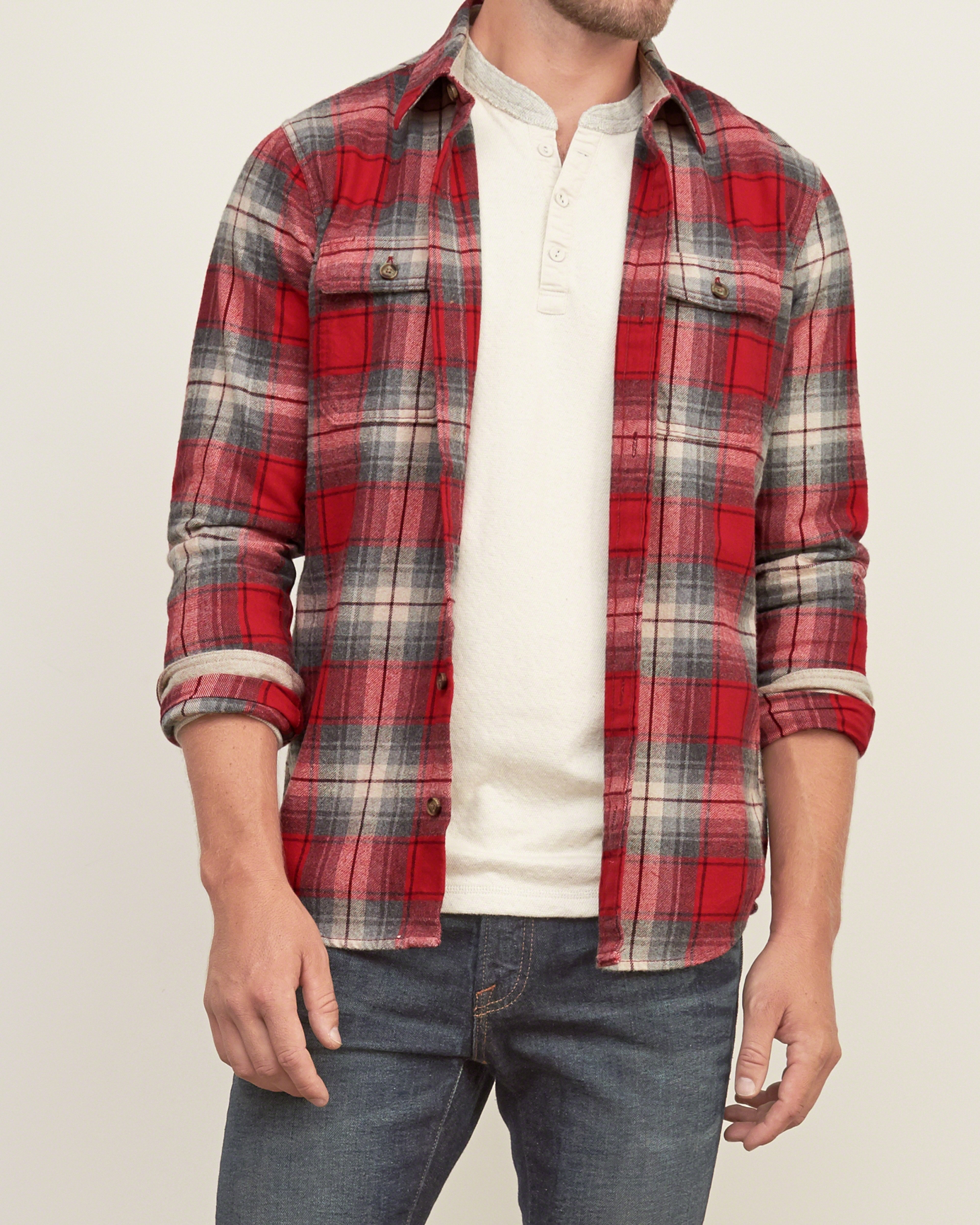 abercrombie amp fitch plaid flannel shirt in red for men lyst