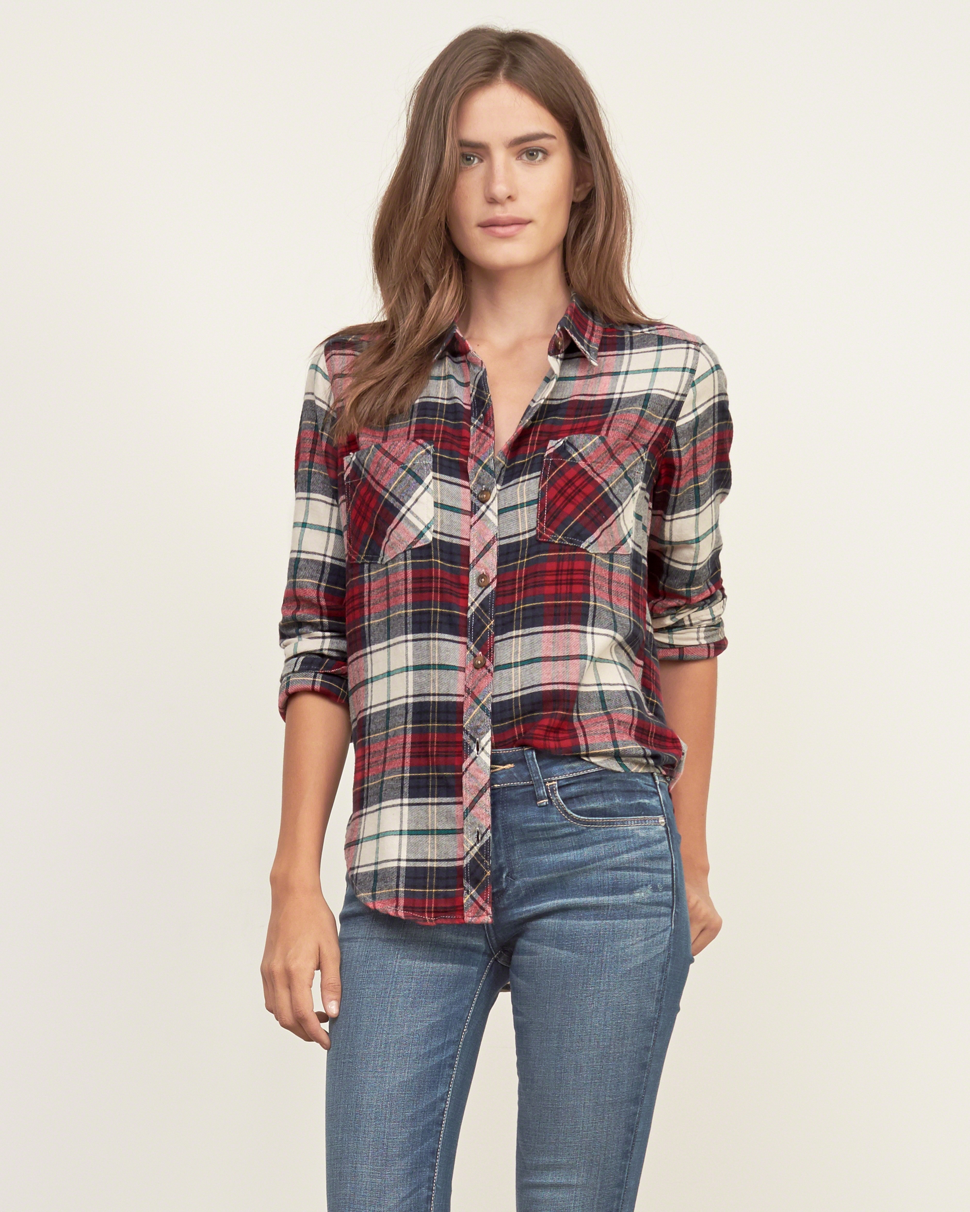 Lyst abercrombie fitch plaid flannel shirt in red for White and black flannel shirt womens
