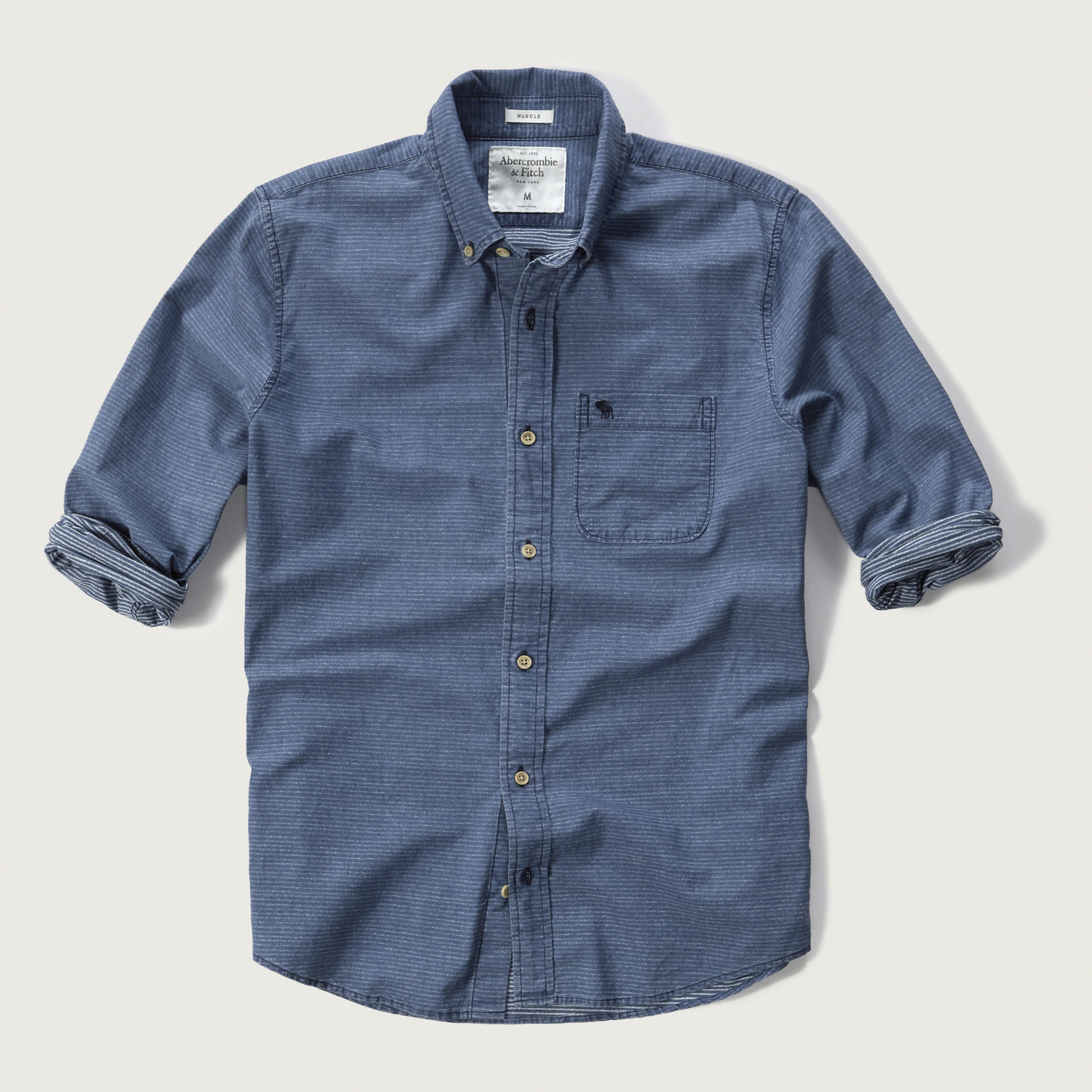 lyst abercrombie amp fitch iconic stripe shirt in blue for men