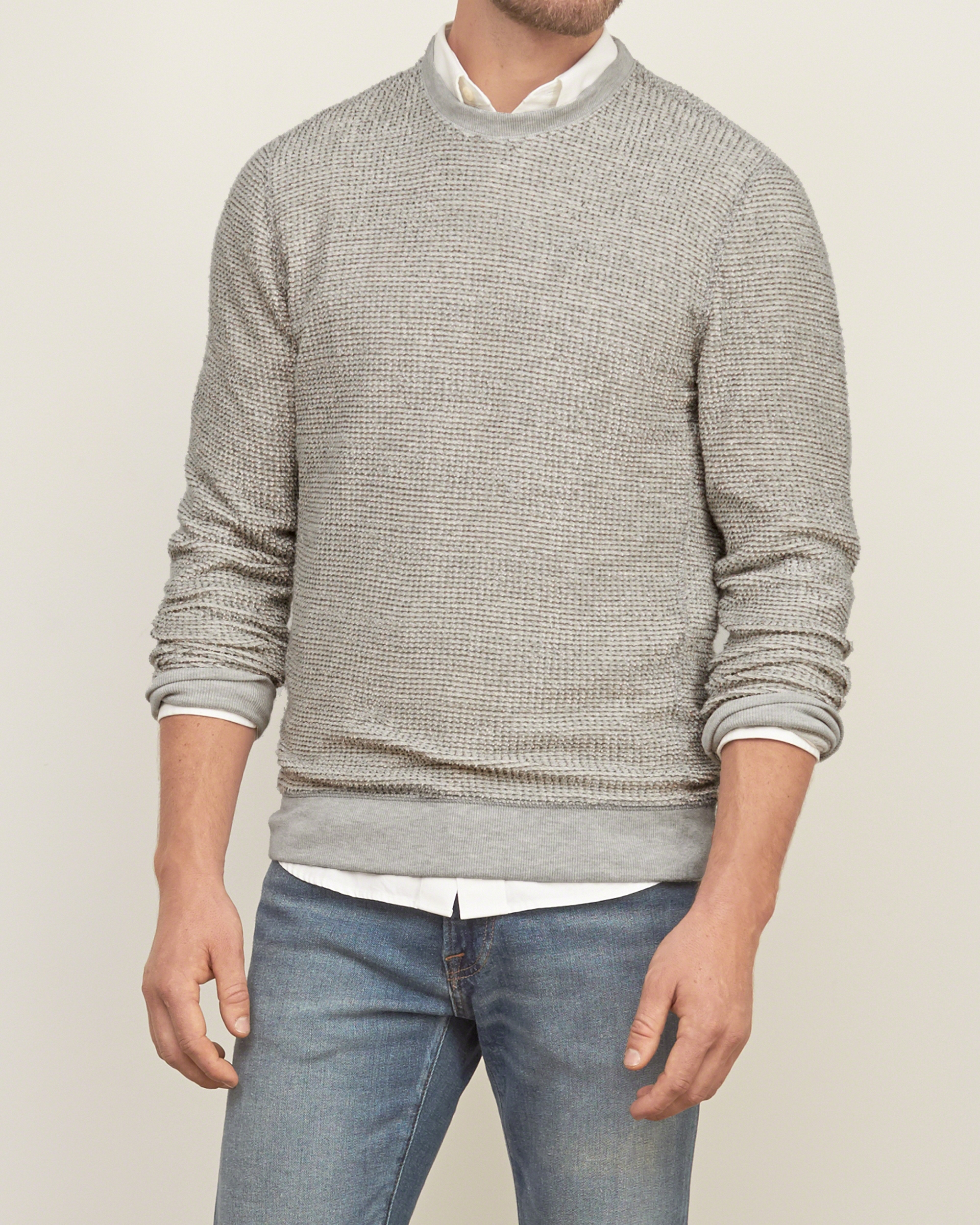 Abercrombie & Fitch Ezra Fitch Crew Sweatshirt In Gray For
