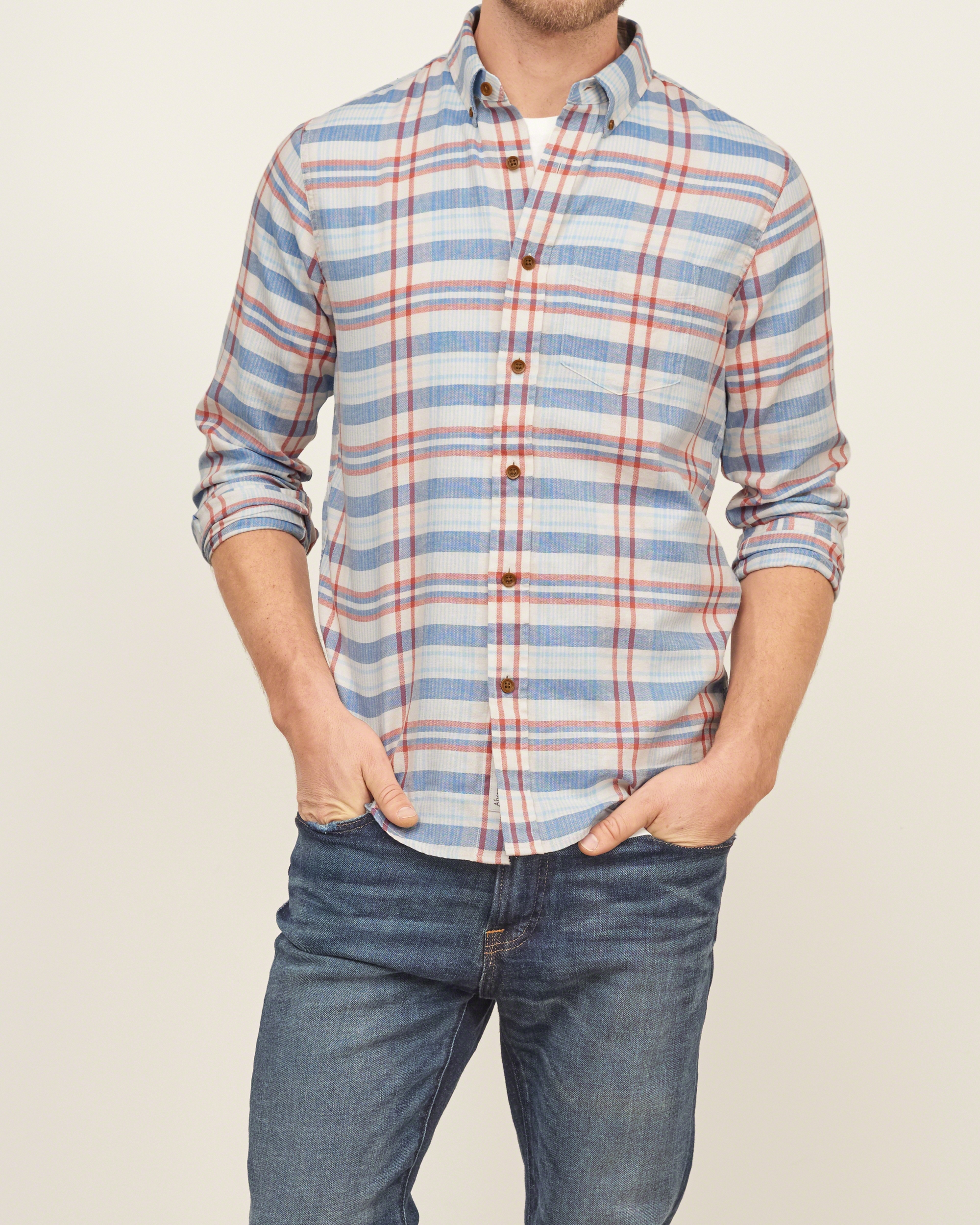 Lyst abercrombie fitch madras plaid shirt in blue for men for Mens madras shirt sale