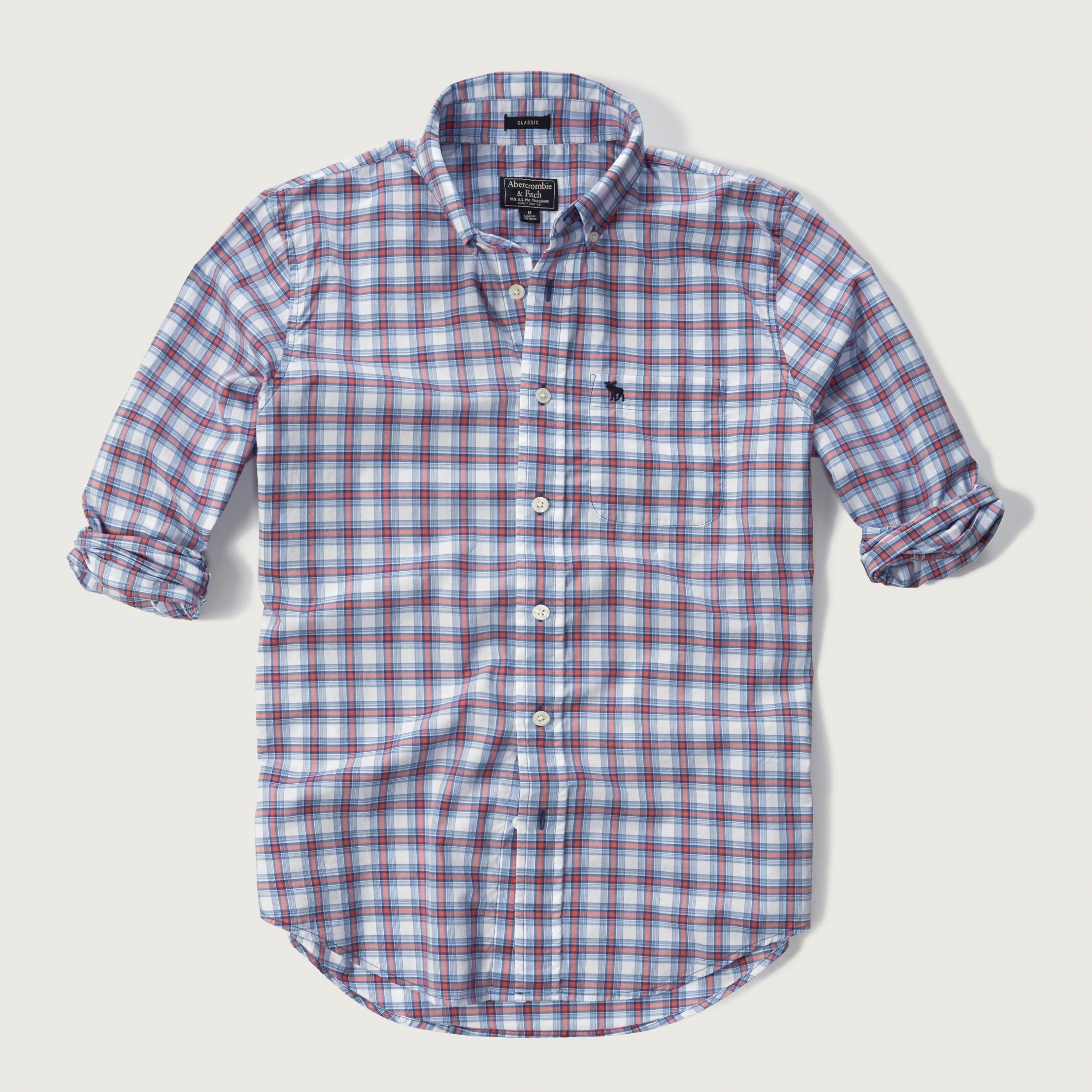 abercrombie amp fitch iconic plaid shirt in blue for men