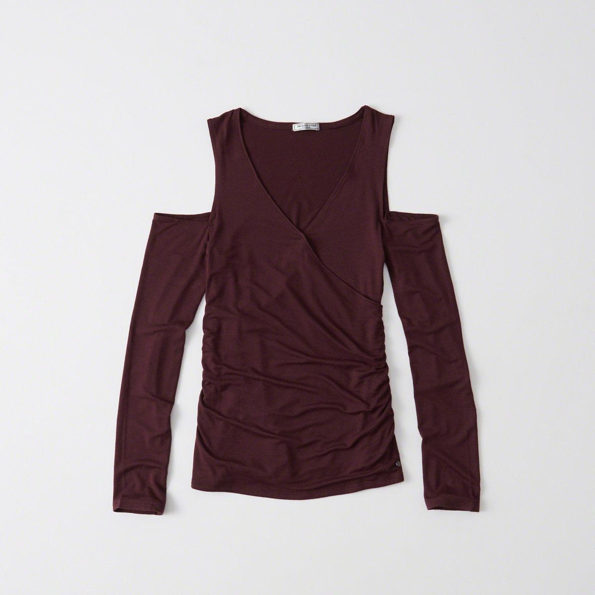 b4a6a6a3e3a14 Lyst - Abercrombie   Fitch Cold Shoulder Wrap Top in Purple