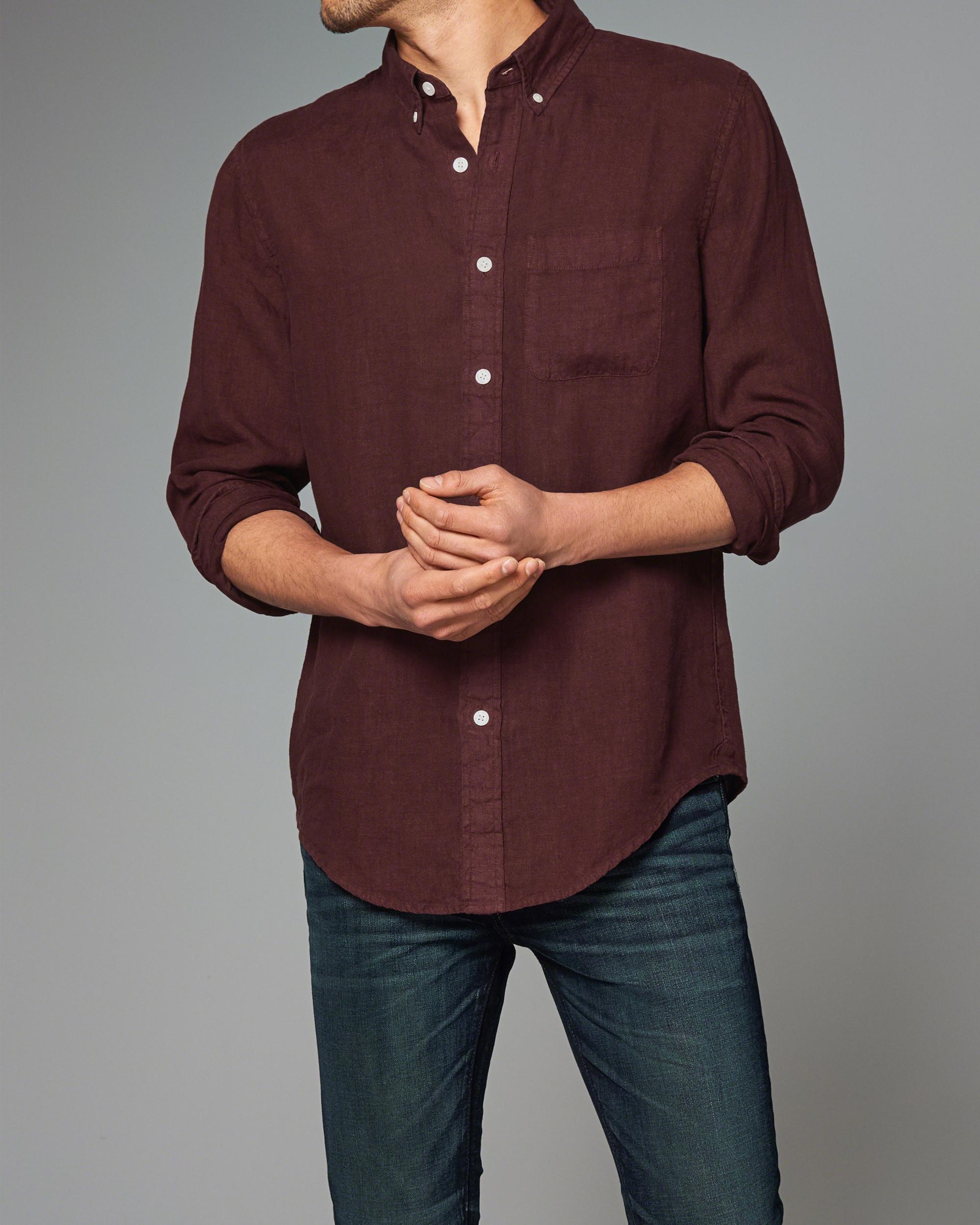 Abercrombie & fitch Garment Dye Linen Shirt in Purple for ...