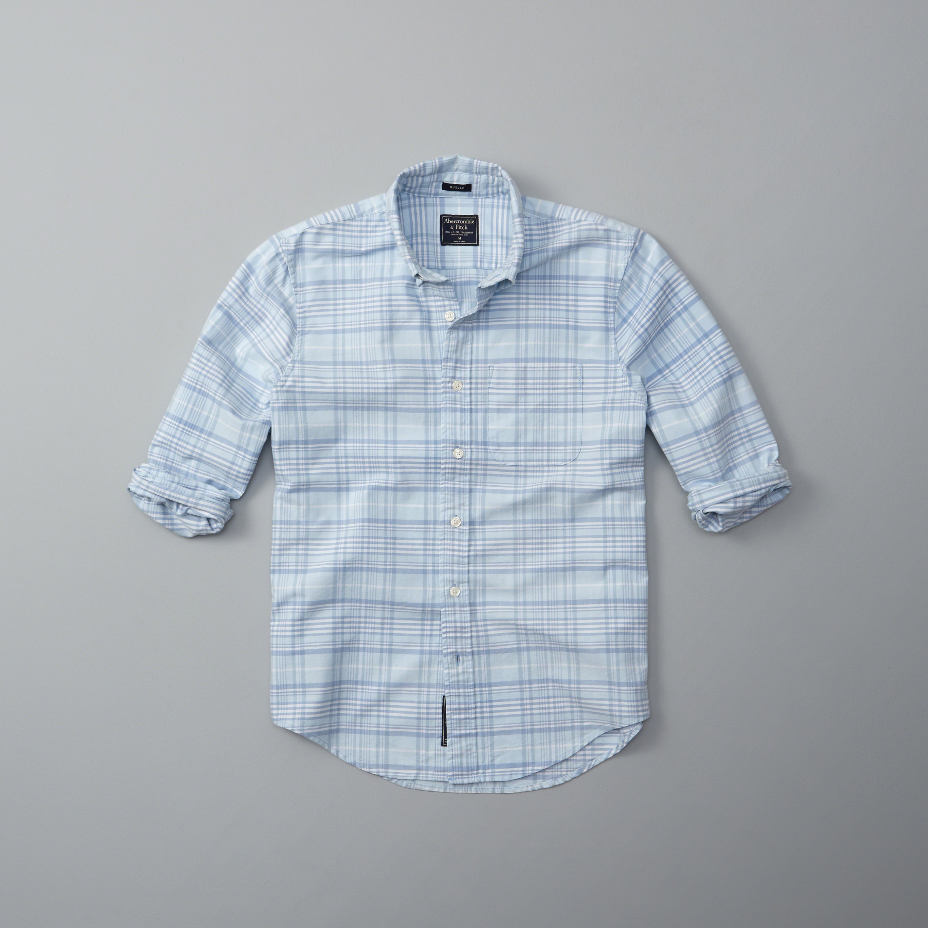 abercrombie amp fitch bleached plaid oxford shirt in blue