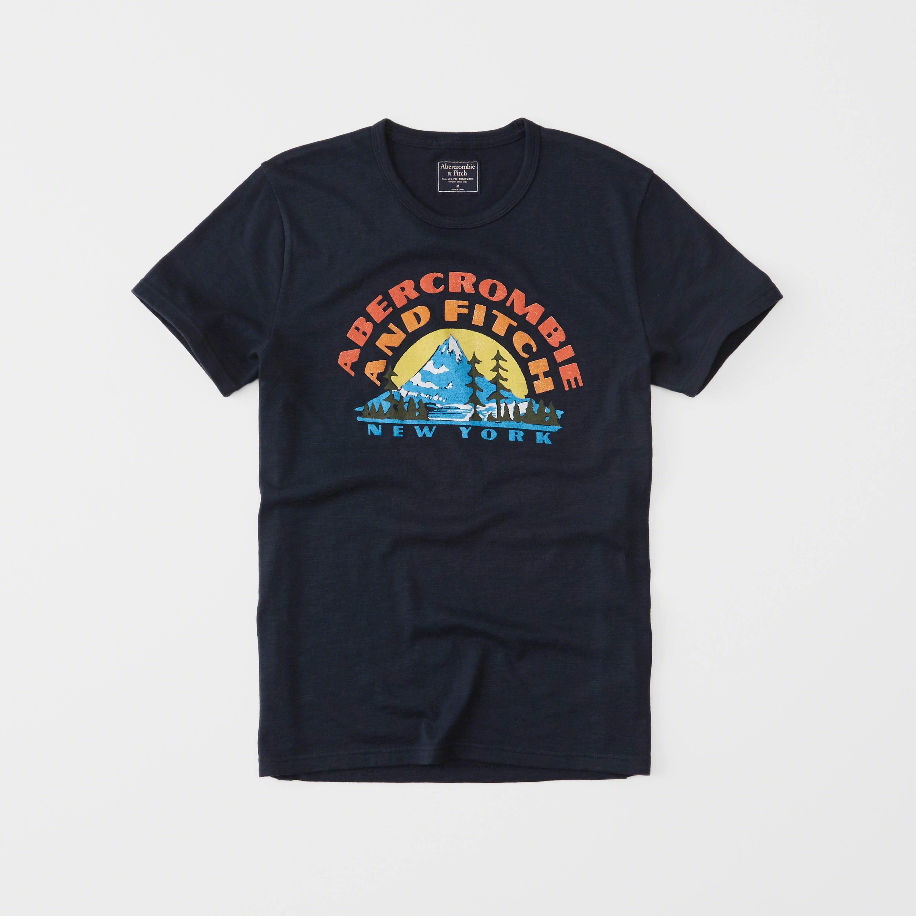 Lyst abercrombie fitch print logo tee in blue for men for Abercrombie logo t shirt
