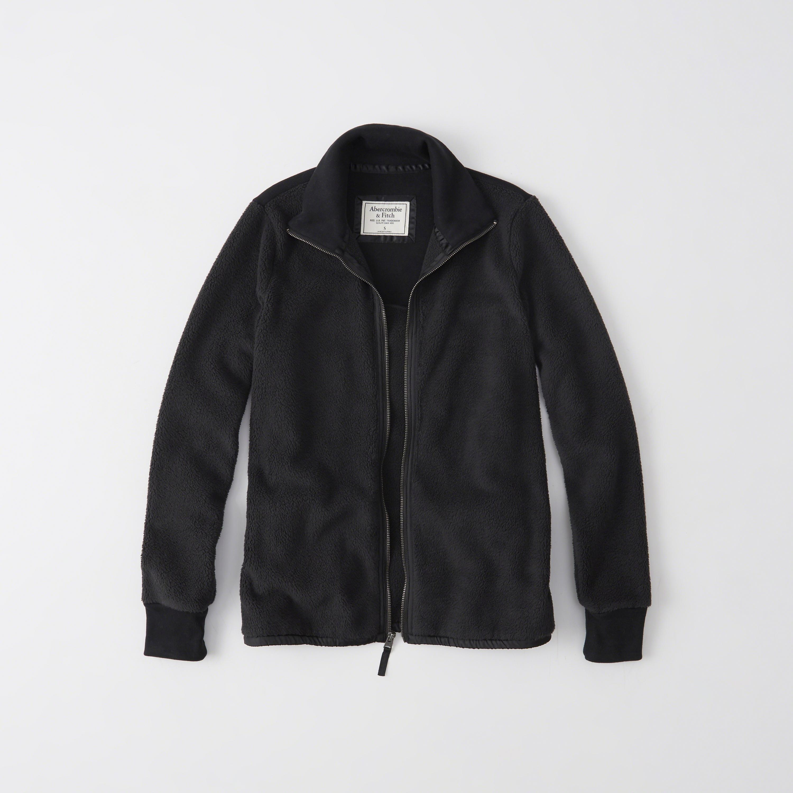 Abercrombie & Fitch Active Full-zip Sherpa Jacket In Black
