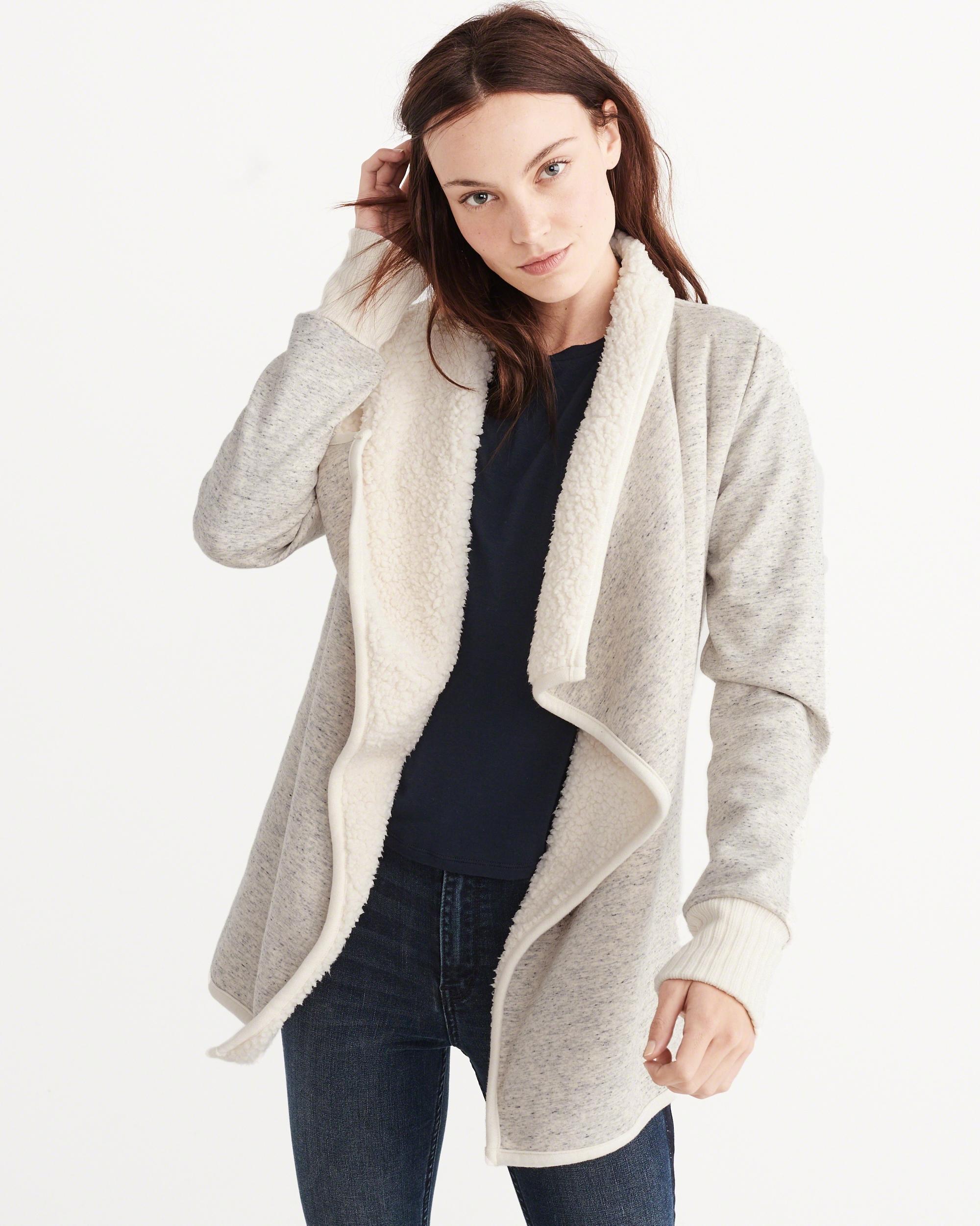 Abercrombie & Fitch Sherpa Fleece Jacket In Gray