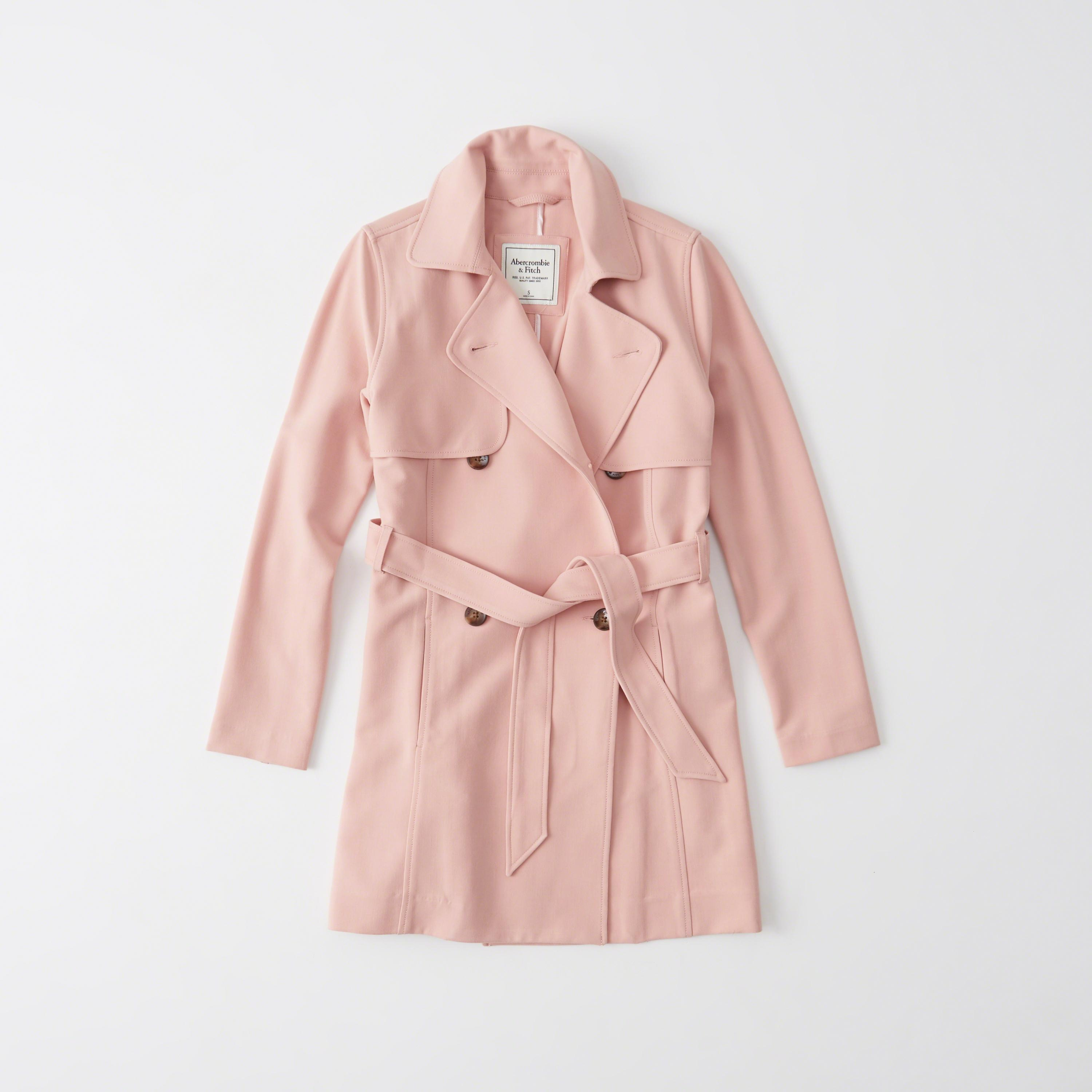 Lyst Abercrombie Amp Fitch Classic Trench Coat In Pink