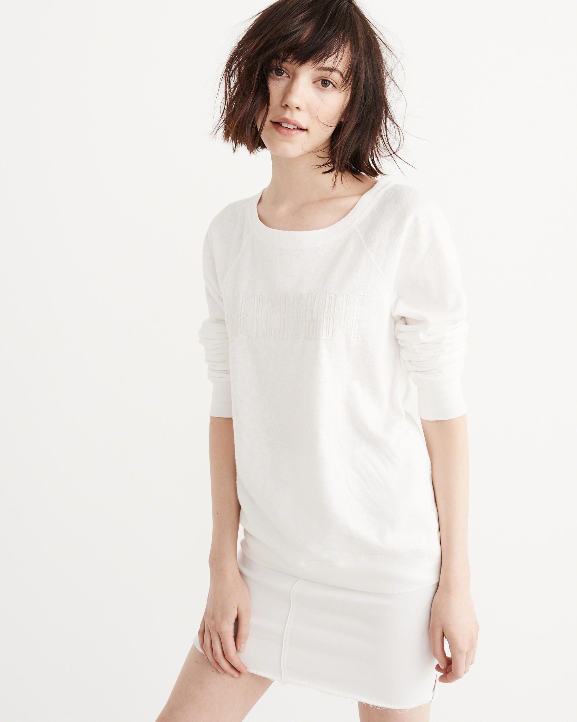 Abercrombie & fitch Logo Crew Sweatshirt in White   Lyst  Abercrombie & f...