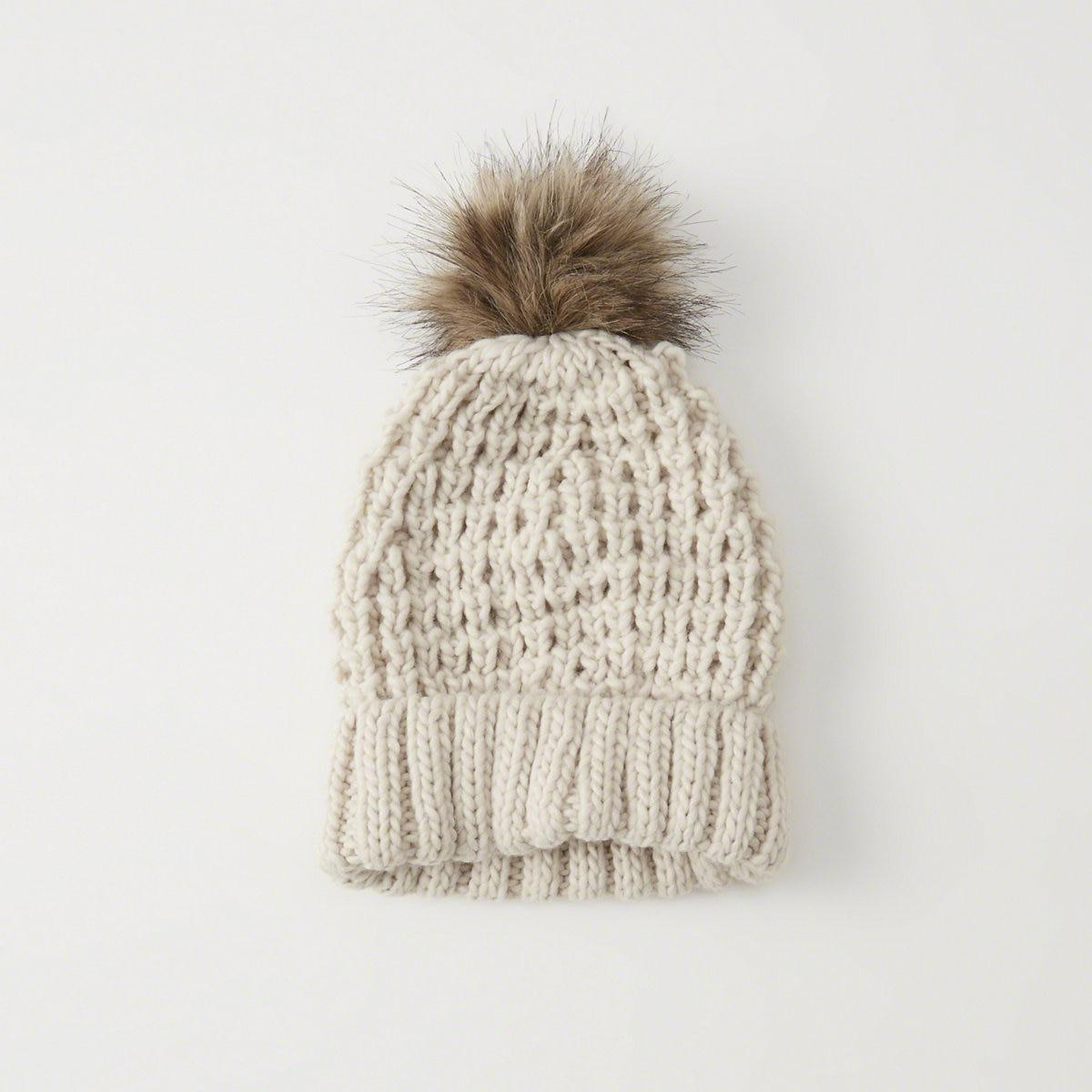 Lyst - Abercrombie   Fitch Pom Knit Beanie in Natural bb10474d7871