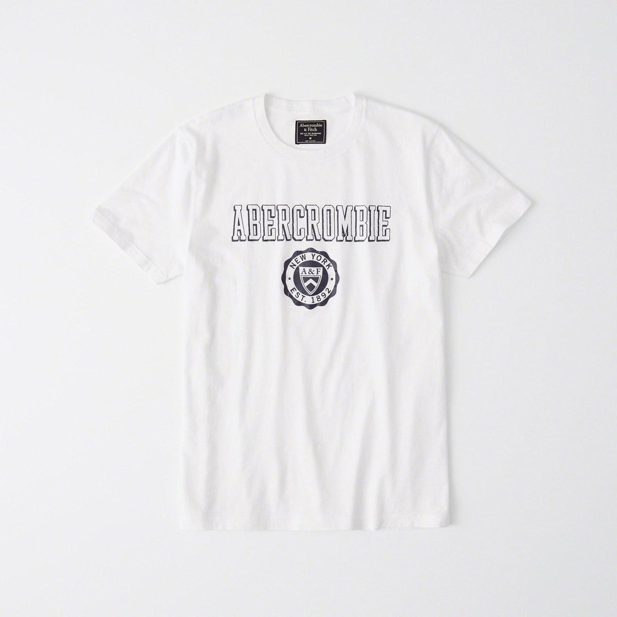 dcb33770a2bd Lyst - Abercrombie & Fitch Short-sleeve Print Logo Tee in White for Men