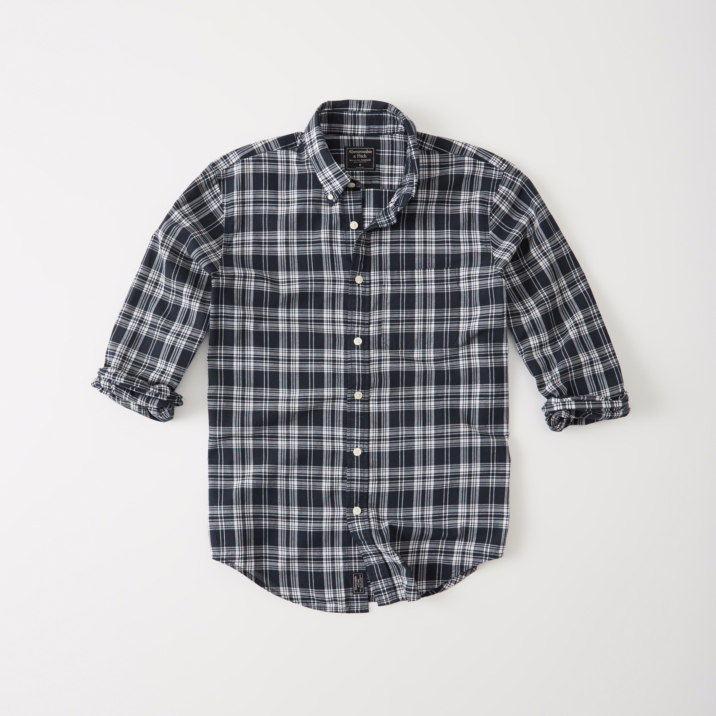 Abercrombie fitch madras shirt in blue for men lyst for Mens madras shirt sale