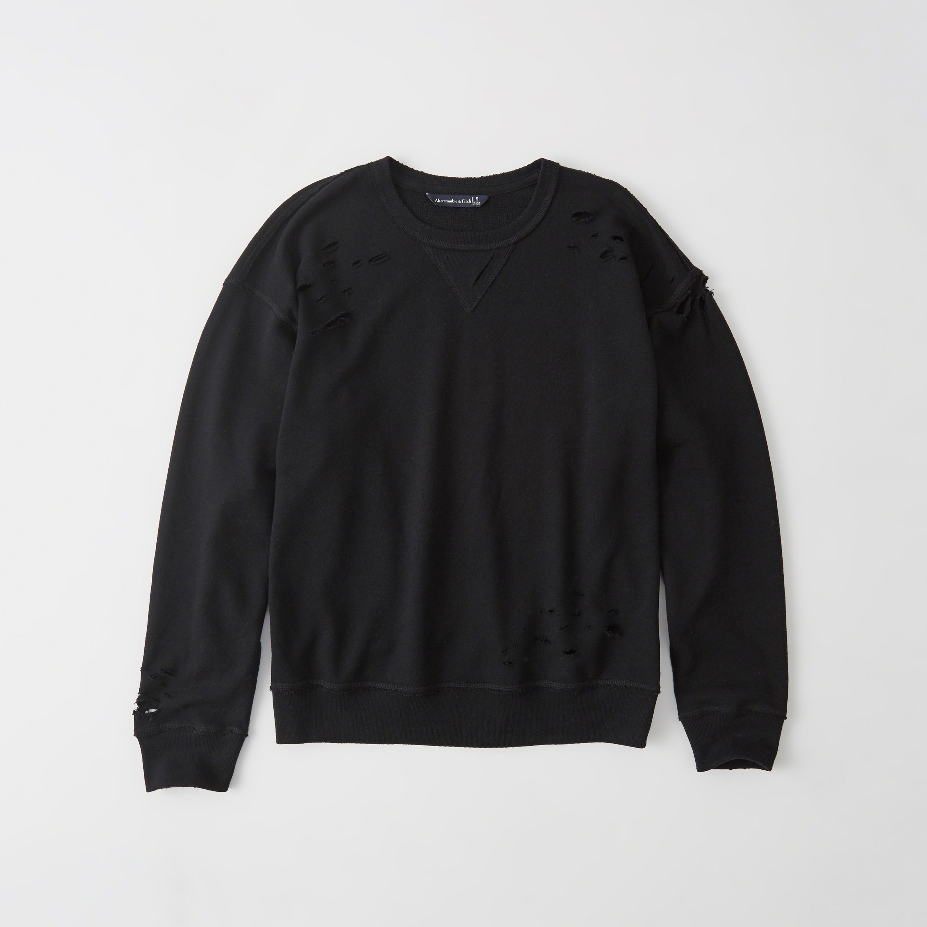 Abercrombie & Fitch Ripped Sweatshirt In Black