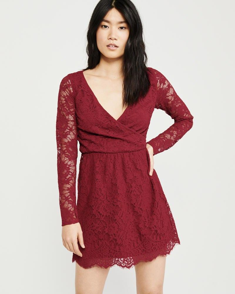 a7907a4c0349 Lyst - Abercrombie & Fitch Wrap-front Lace Dress in Red
