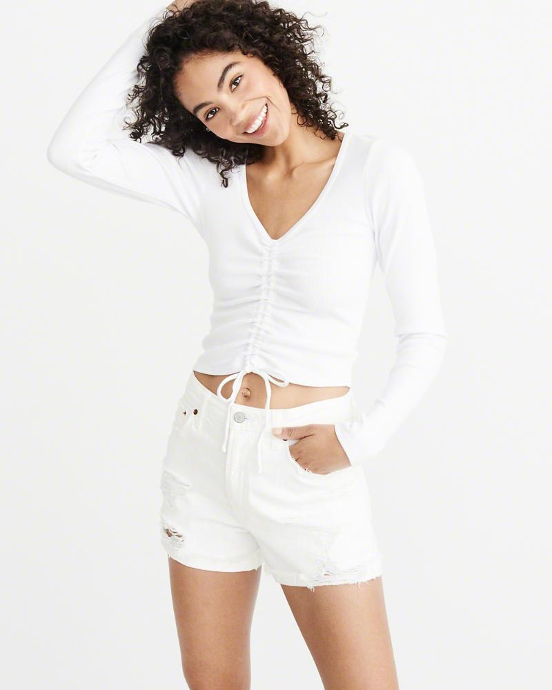 38f76cc87e34b0 Lyst - Abercrombie   Fitch A f Tie-front Top in White