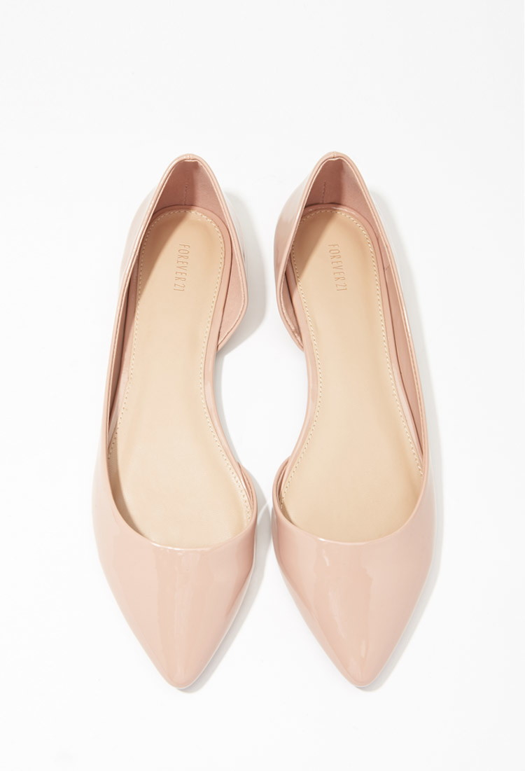 Lyst - Forever 21 Pointed Faux Patent Flats in Pink ff700e92da